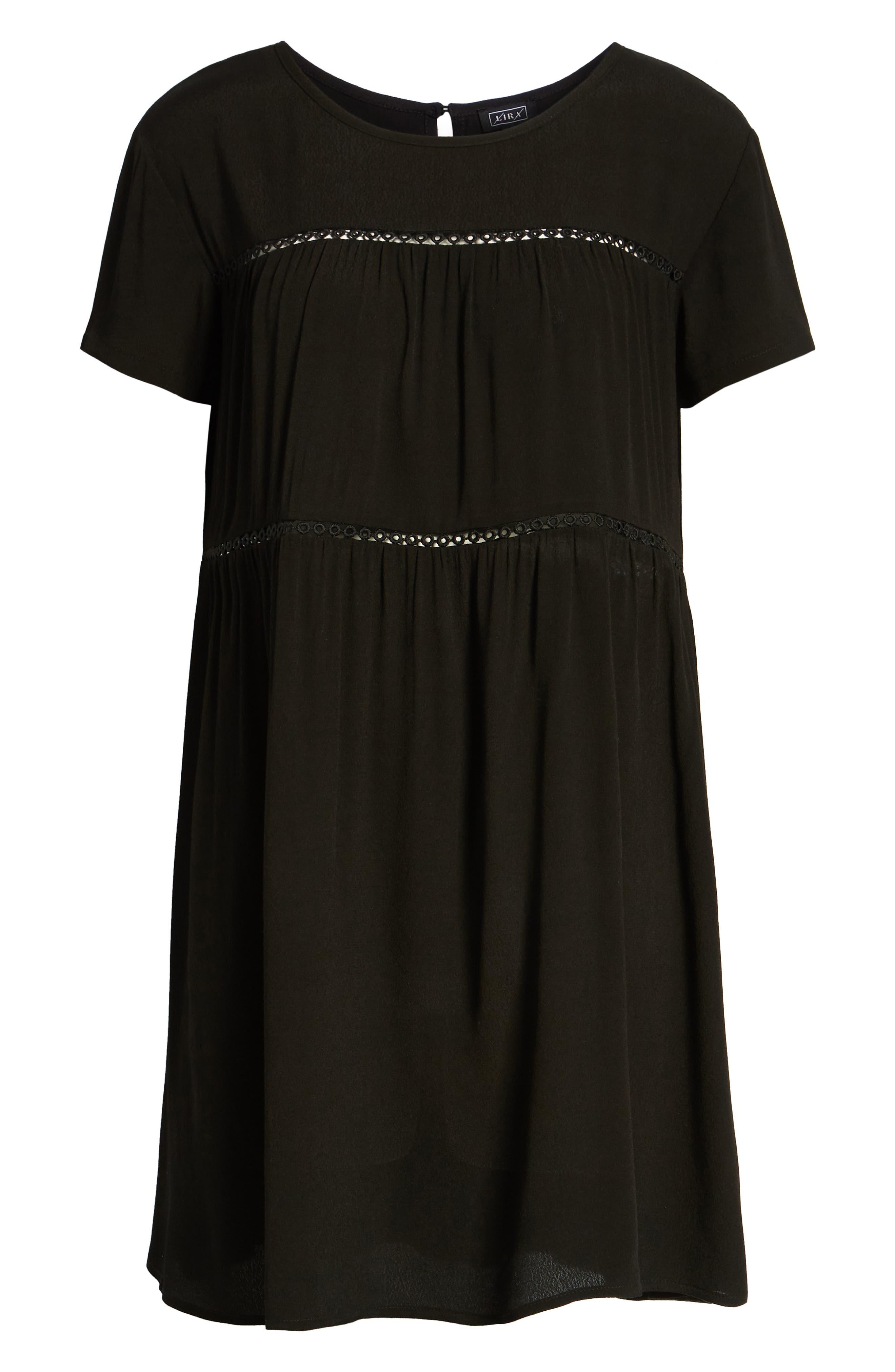LIRA CLOTHING,                             Amelia Silk Blend Babydoll Dress,                             Alternate thumbnail 7, color,                             BLACK