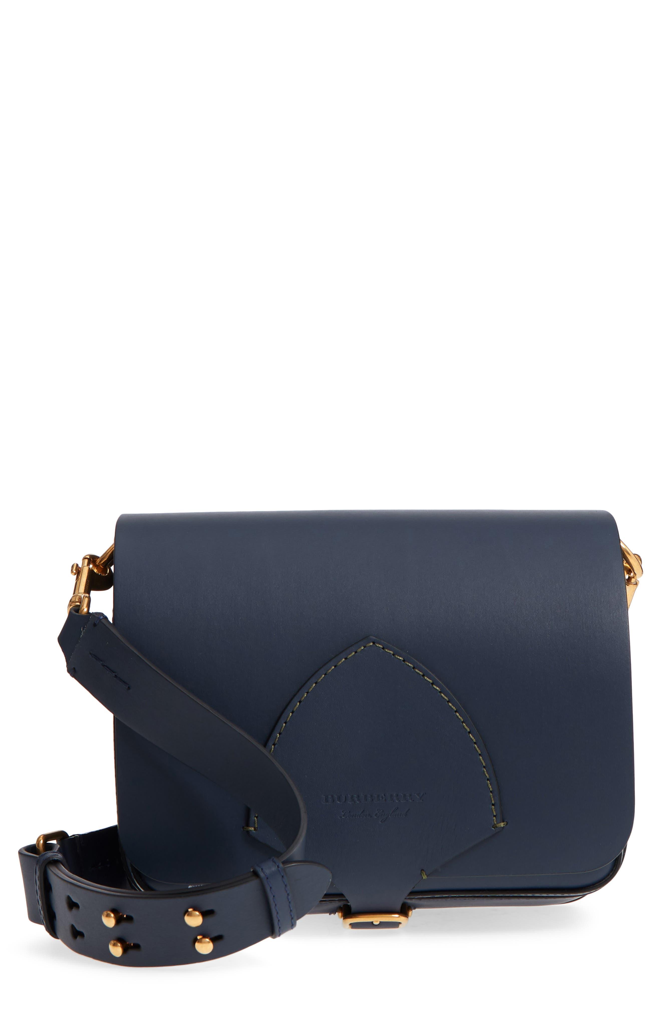 Large Square Leather Shoulder Bag,                         Main,                         color, MID INDIGO