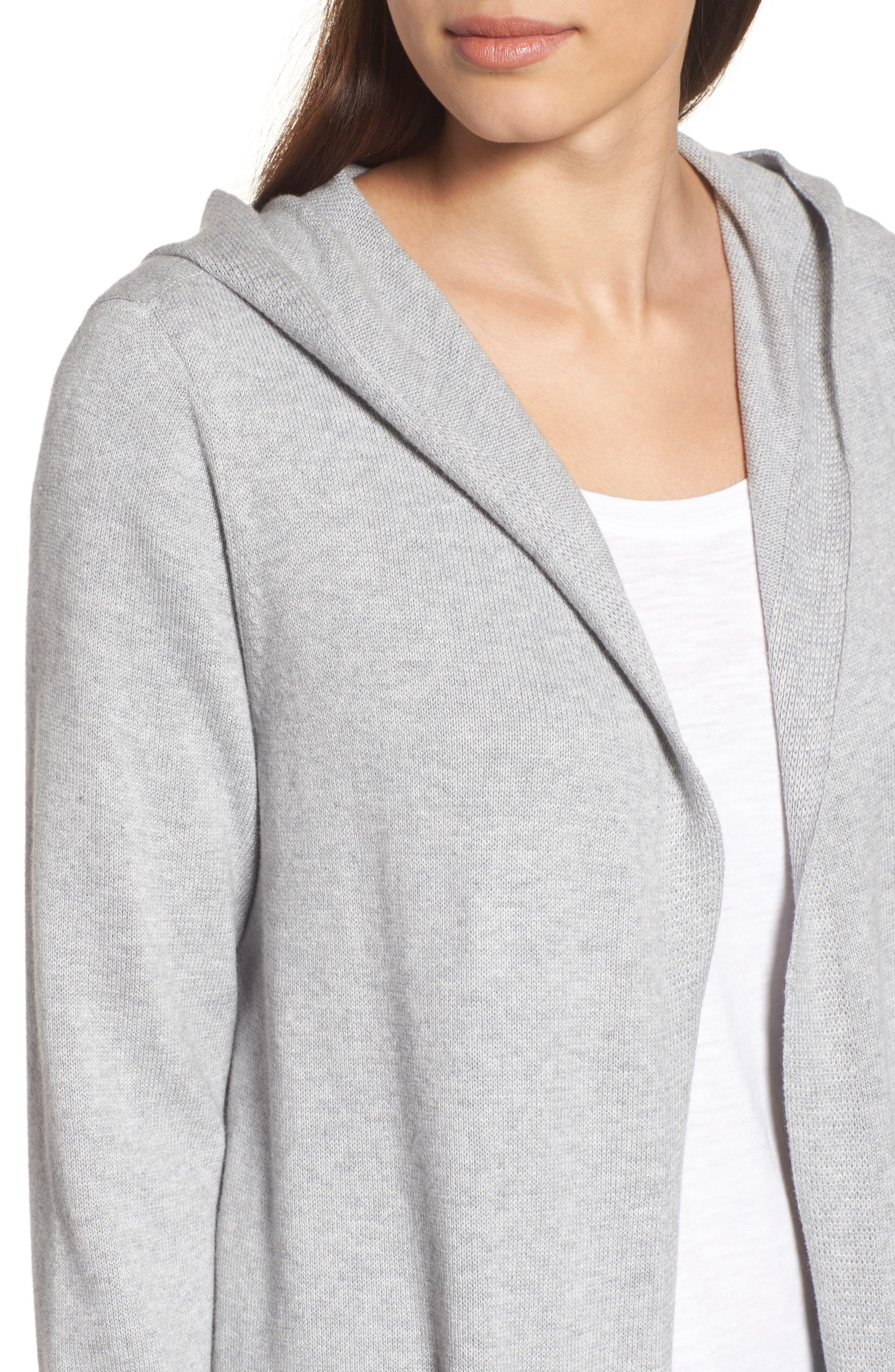 Organic Cotton Hooded Cardigan,                             Alternate thumbnail 4, color,                             022