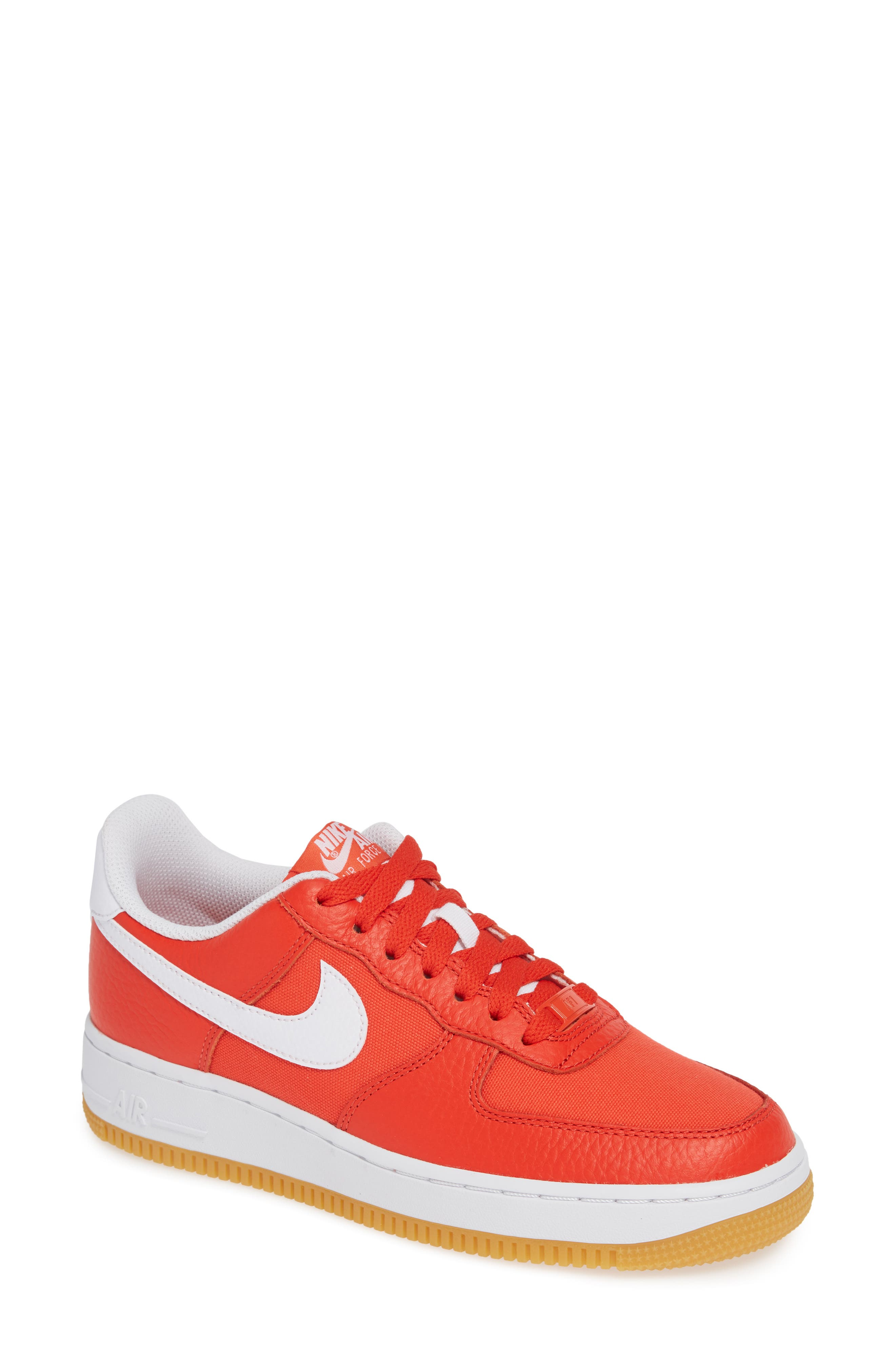 Air Force 1 '07 Premium Sneaker,                             Main thumbnail 1, color,                             RED/ WHITE/ LIGHT BROWN