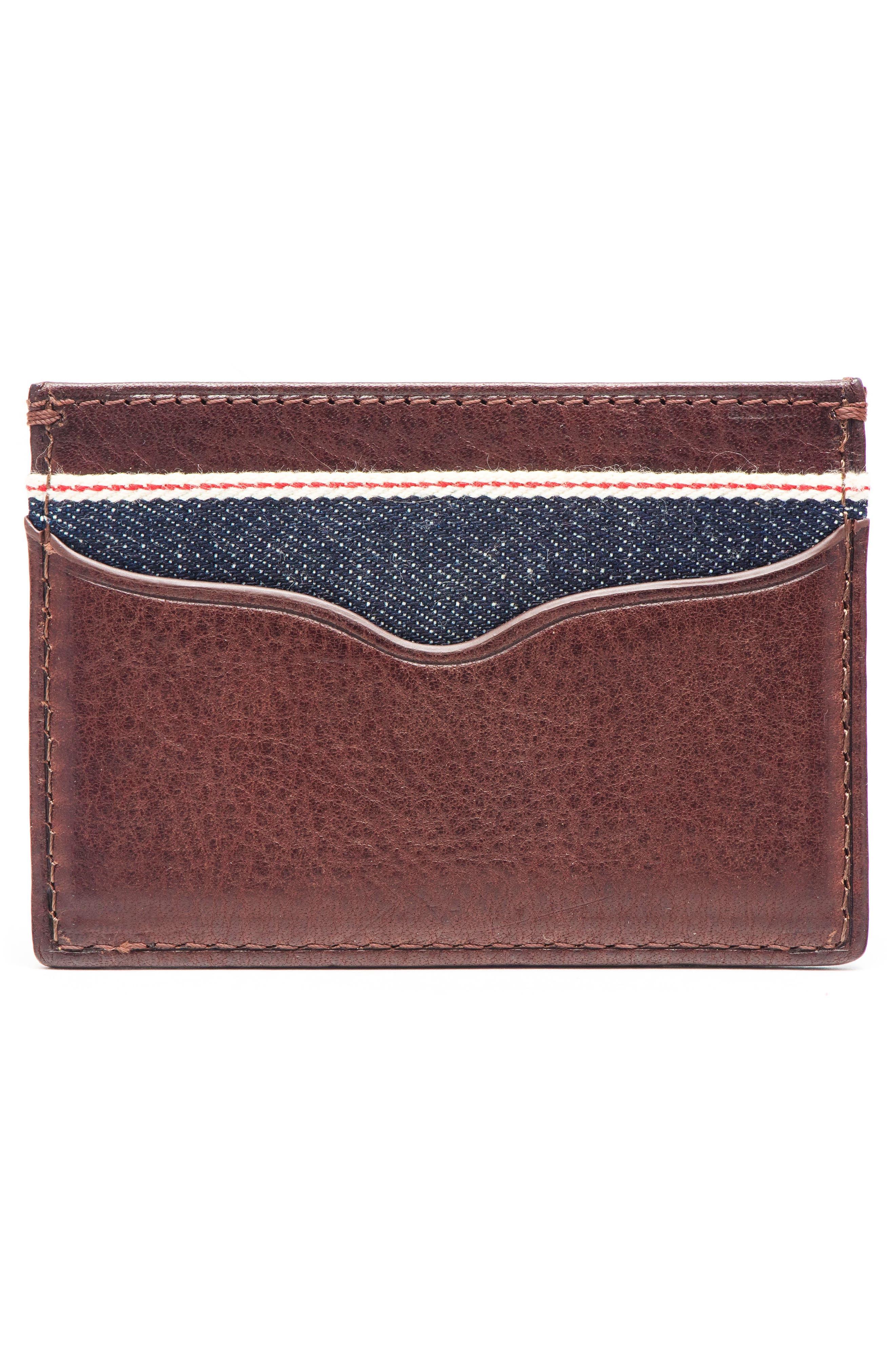 Leather & Denim Card Case,                             Alternate thumbnail 2, color,                             200