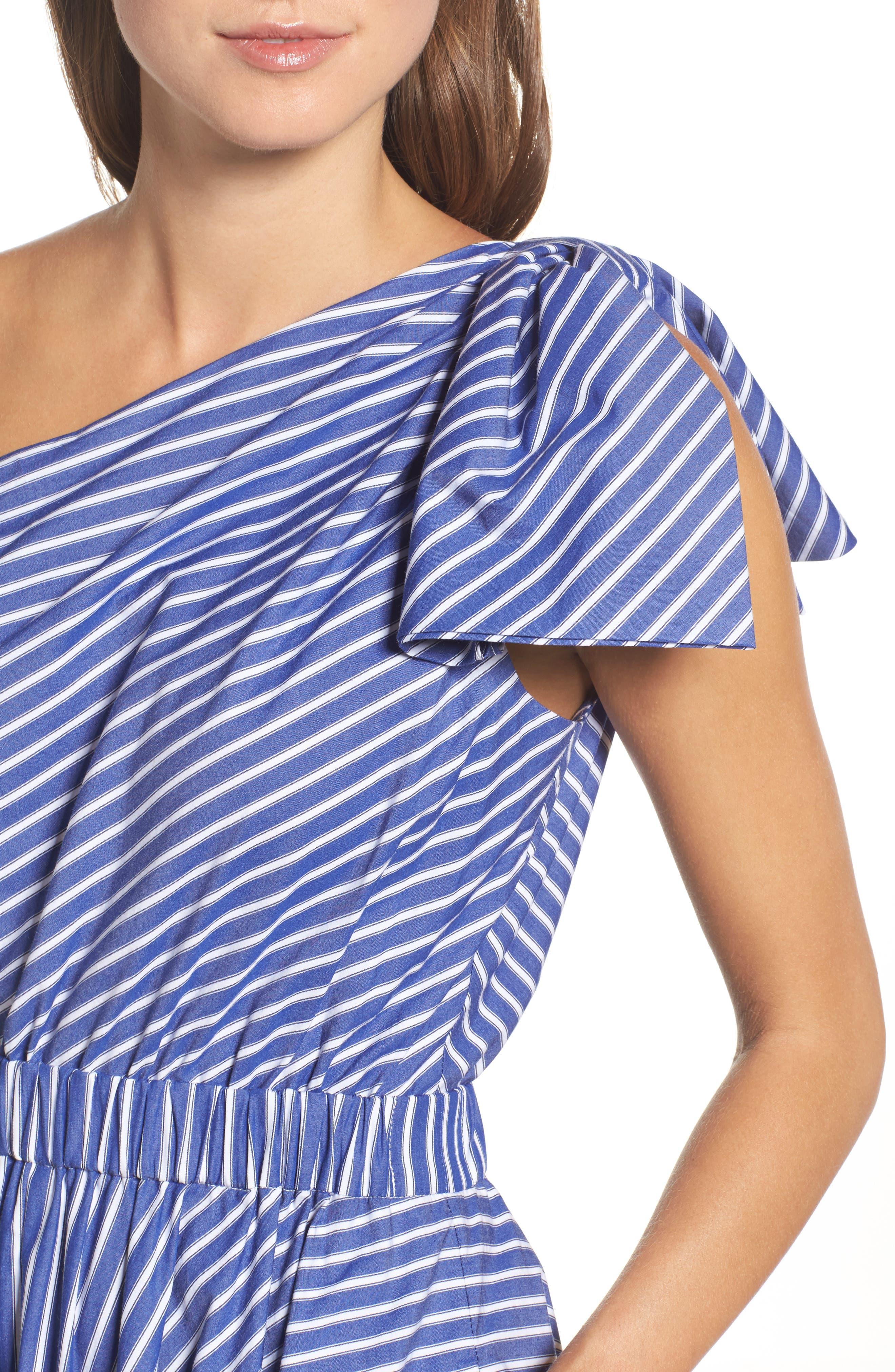 One-Shoulder Fit & Flare Dress,                             Alternate thumbnail 4, color,