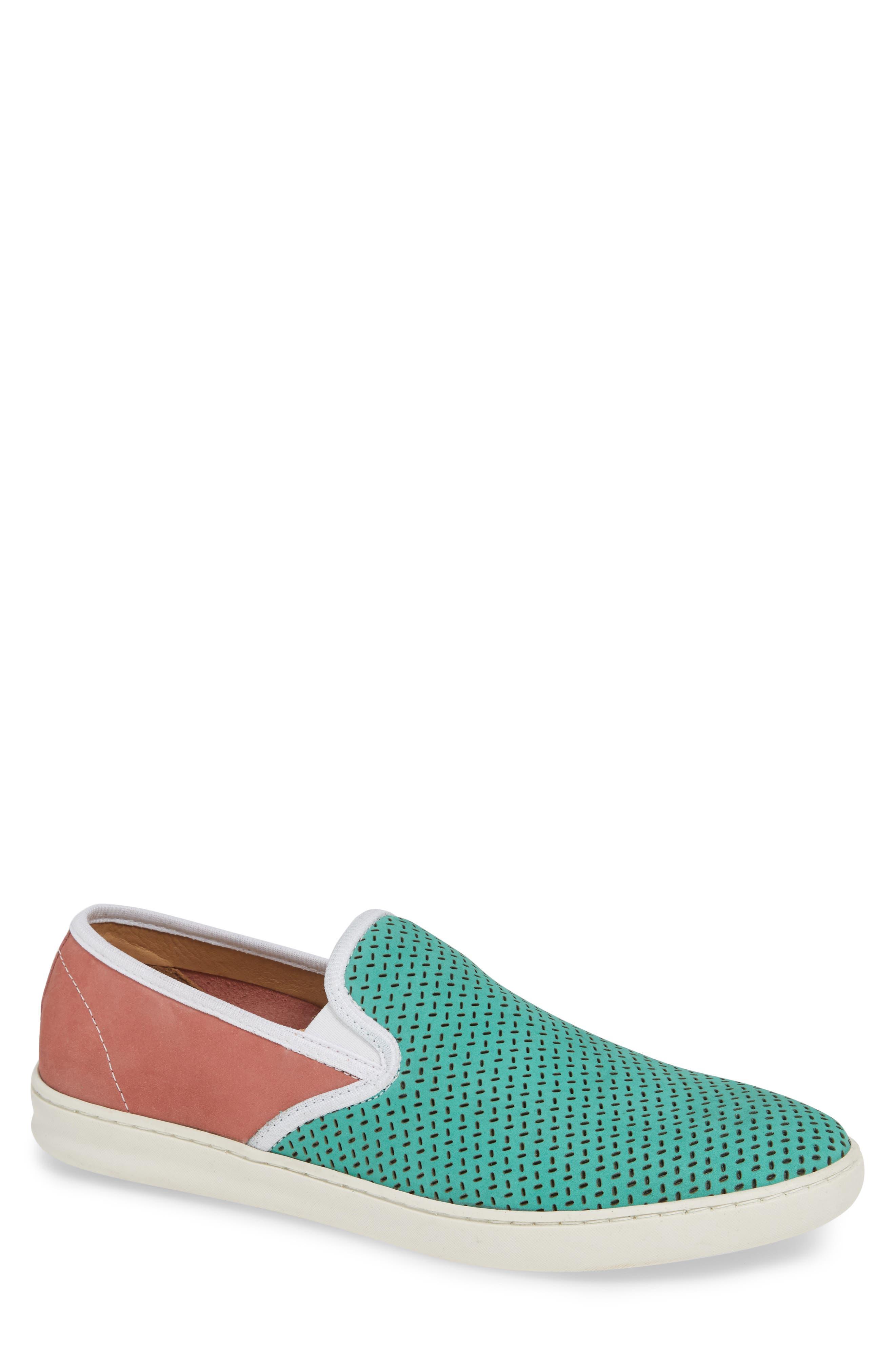 Malibu Perforated Loafer,                         Main,                         color, AQUA/PINK NUBUCK