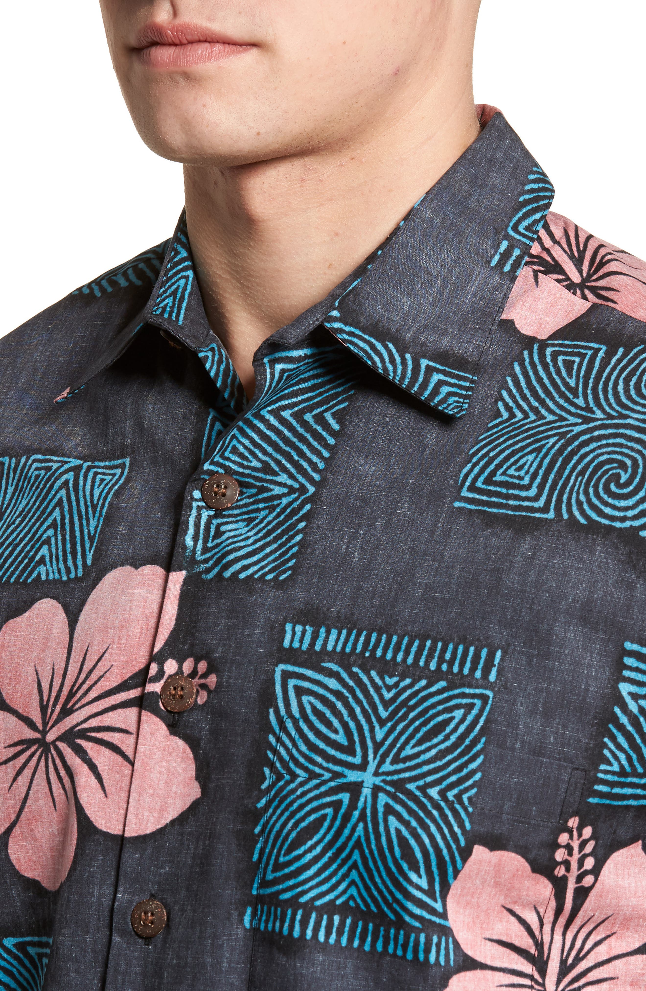 Tiki Room Standard Fit Camp Shirt,                             Alternate thumbnail 4, color,                             001