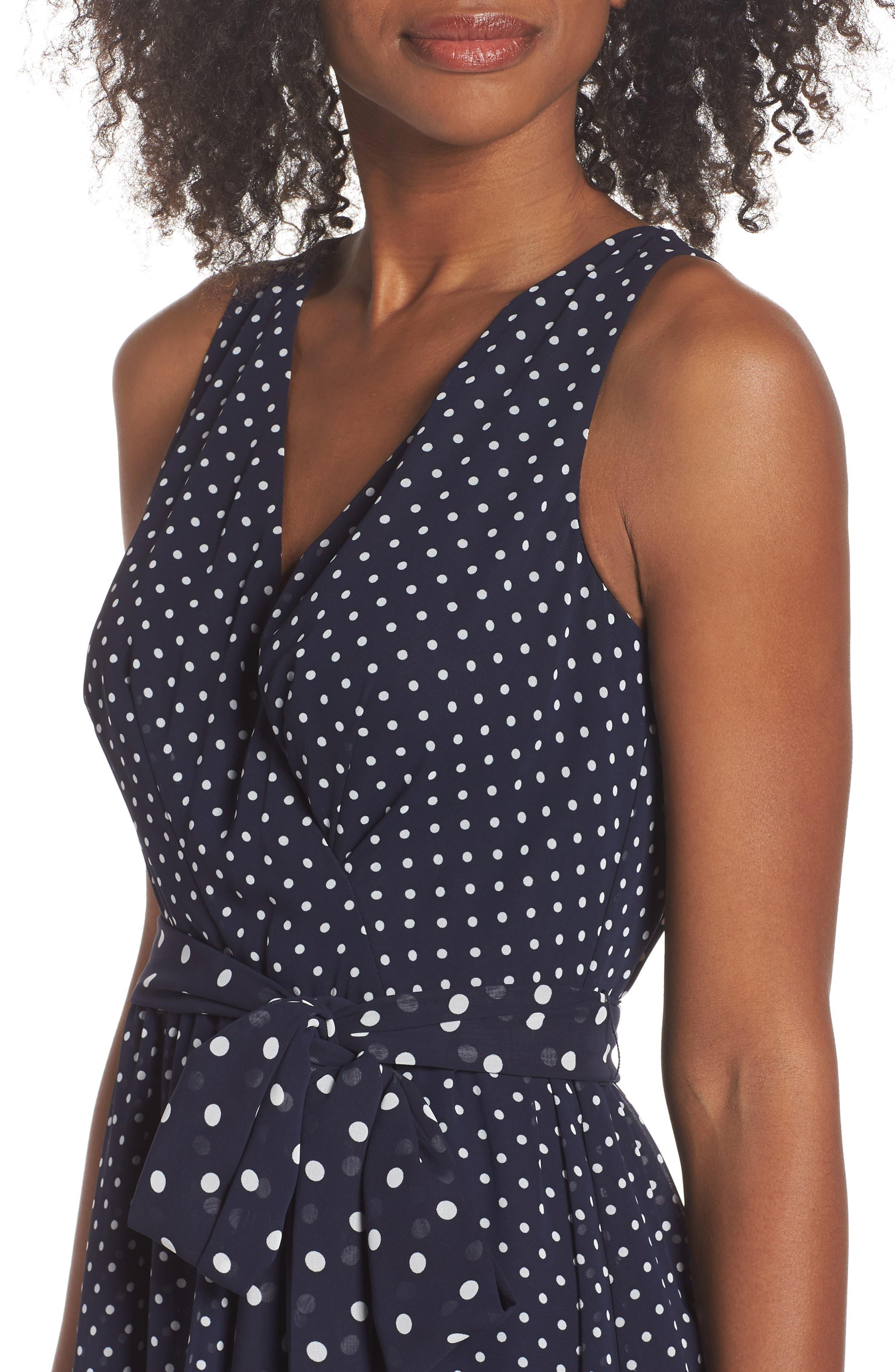 ELIZA J,                             Polka Dot High/Low Hem Dress,                             Alternate thumbnail 4, color,                             407