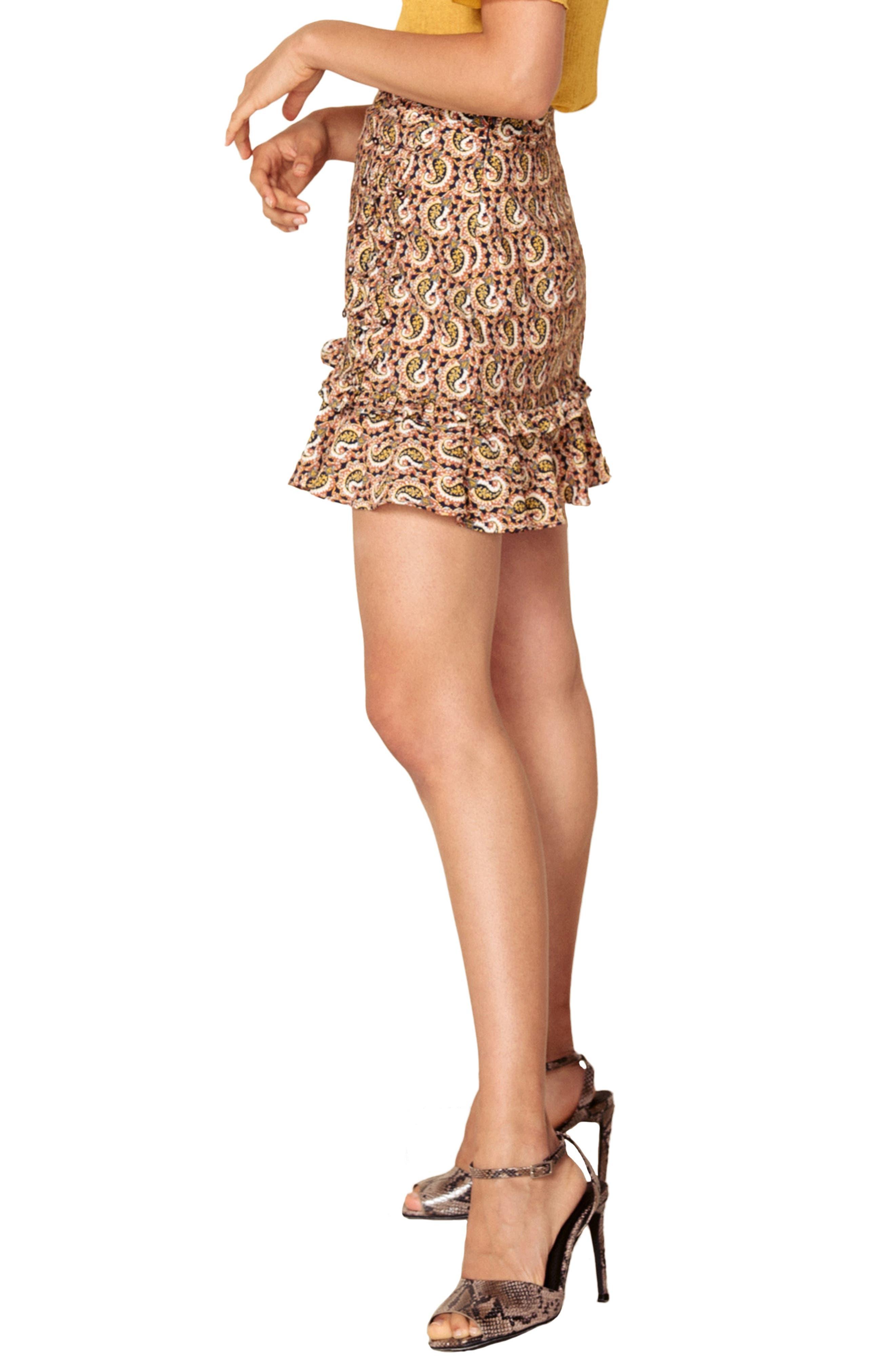 Alix Paisley Skirt,                             Alternate thumbnail 3, color,                             OCHRE IDOL