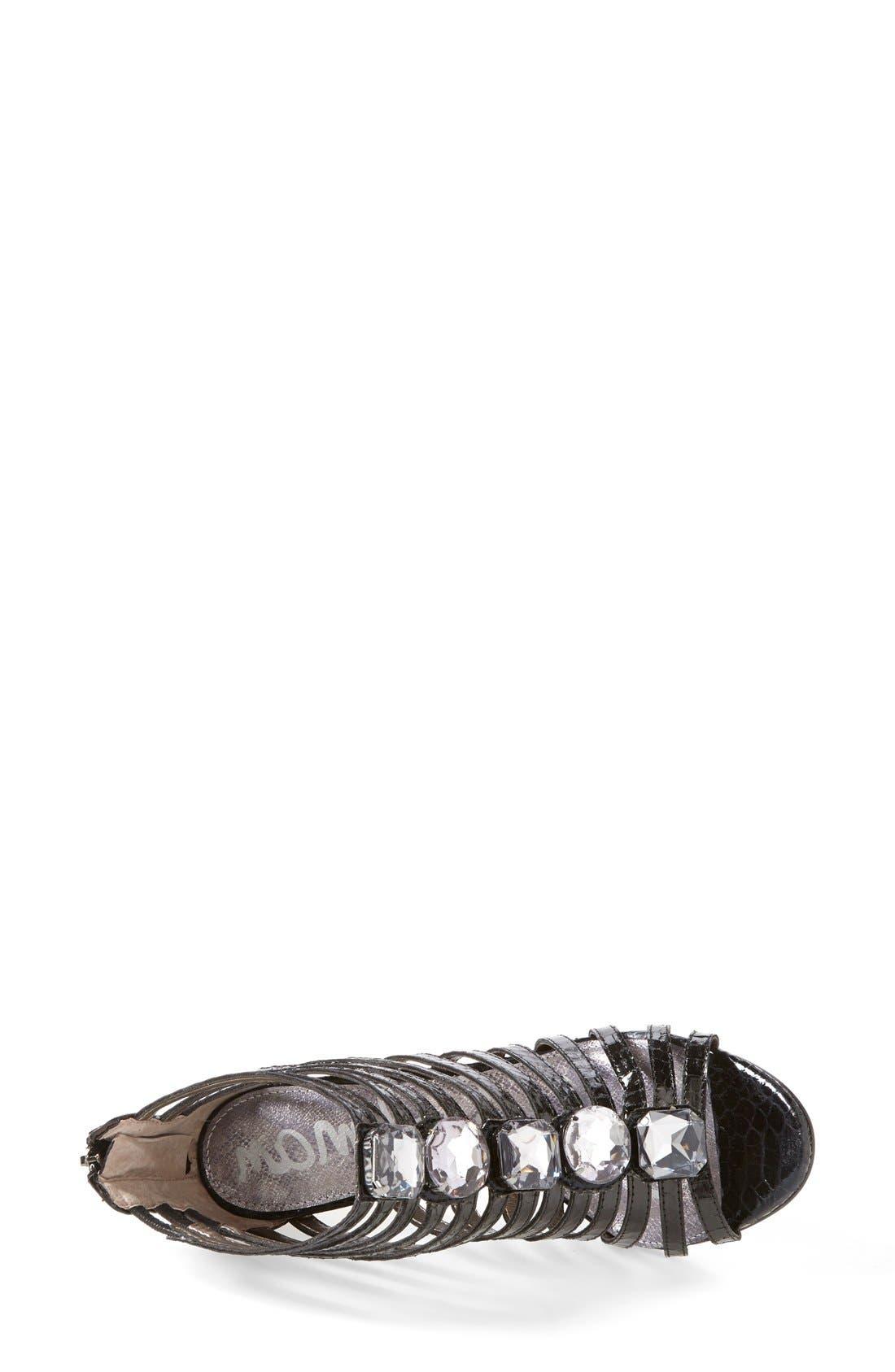 'Hampton' Snakeskin Print Caged Sandal,                             Alternate thumbnail 3, color,                             002
