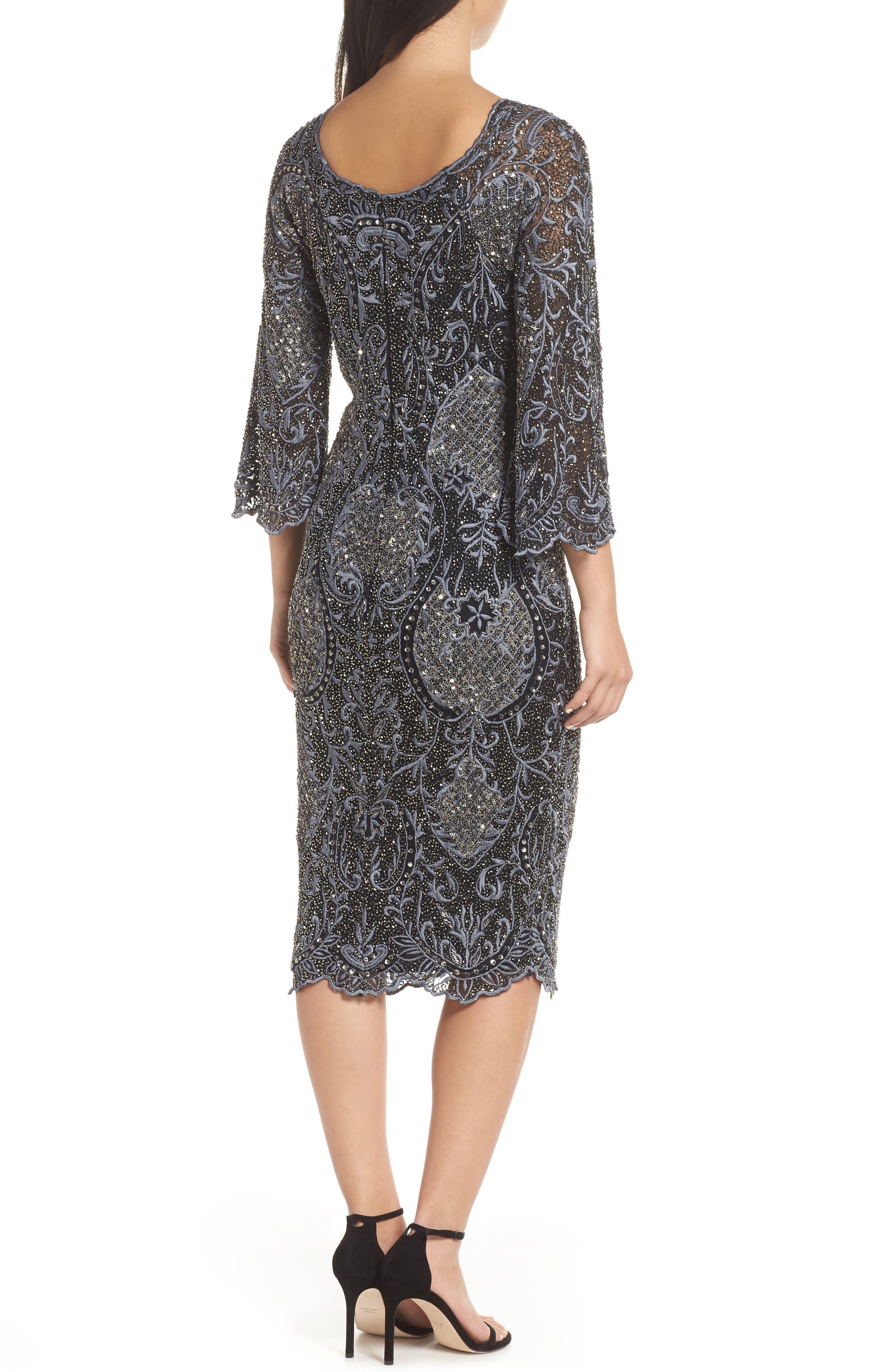 Embroidered Scallop Edge Midi Sheath Dress,                             Alternate thumbnail 2, color,                             BLACK
