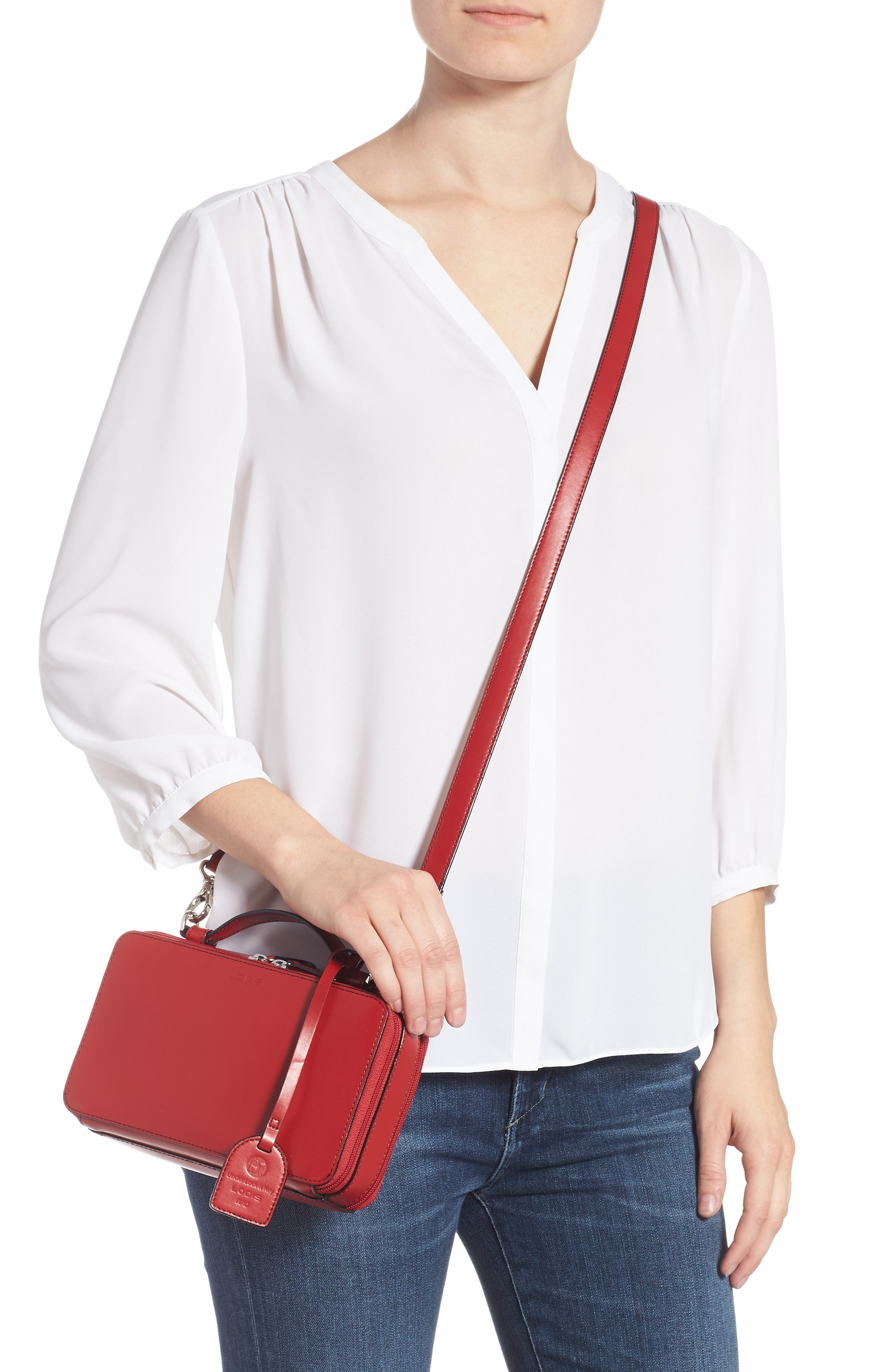 Downtown Sally RFID Zip-Around Leather Crossbody Bag,                             Alternate thumbnail 2, color,                             RED