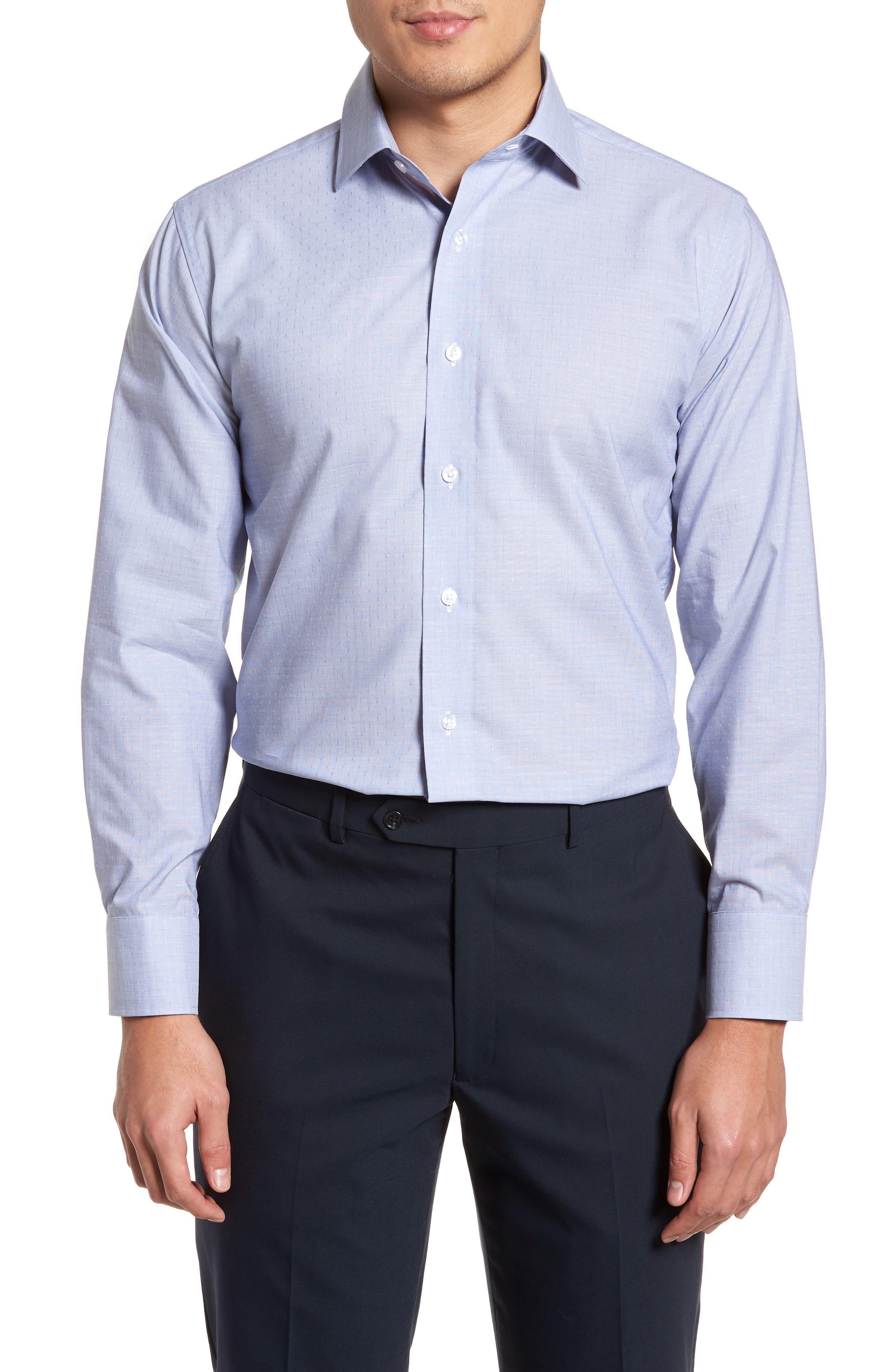 Trim Fit Dot Dress Shirt,                             Main thumbnail 1, color,                             BLUE