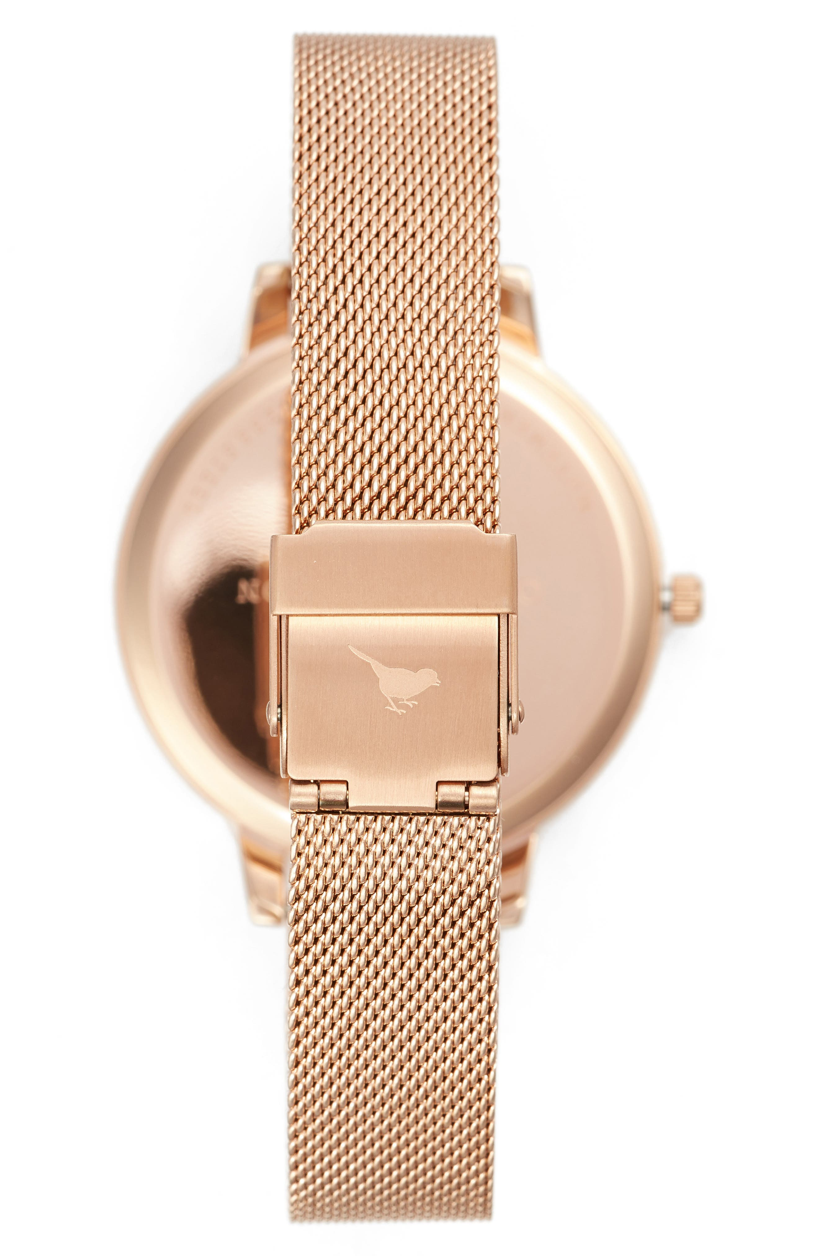 Oliva Burton Abstract Florals Mesh Bracelet Watch, 38mm,                             Alternate thumbnail 3, color,                             ROSE GOLD
