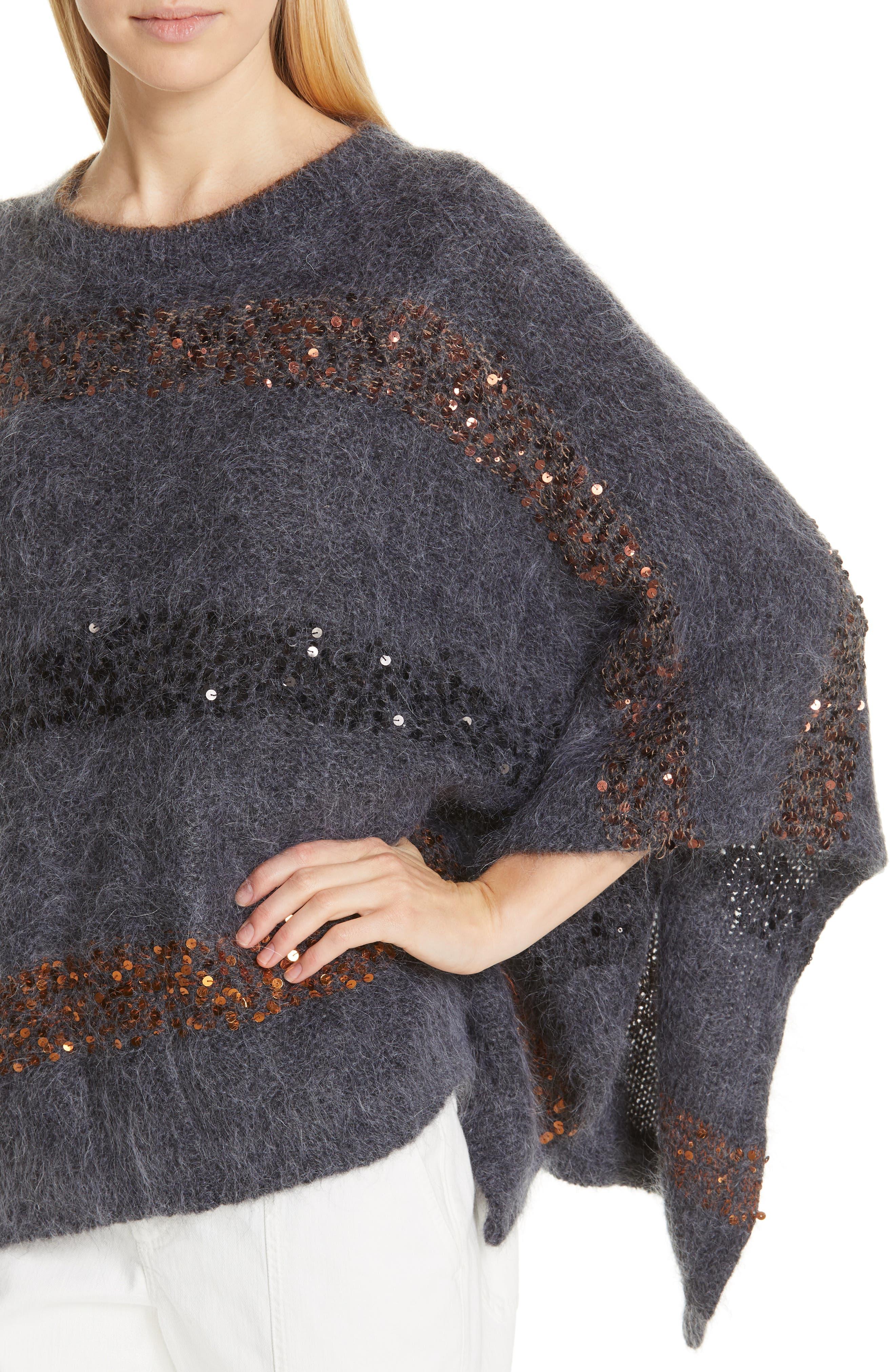 BRUNELLO CUCINELLI,                             Sequin Stripe Poncho Sweater,                             Alternate thumbnail 5, color,                             ANTHRACITE