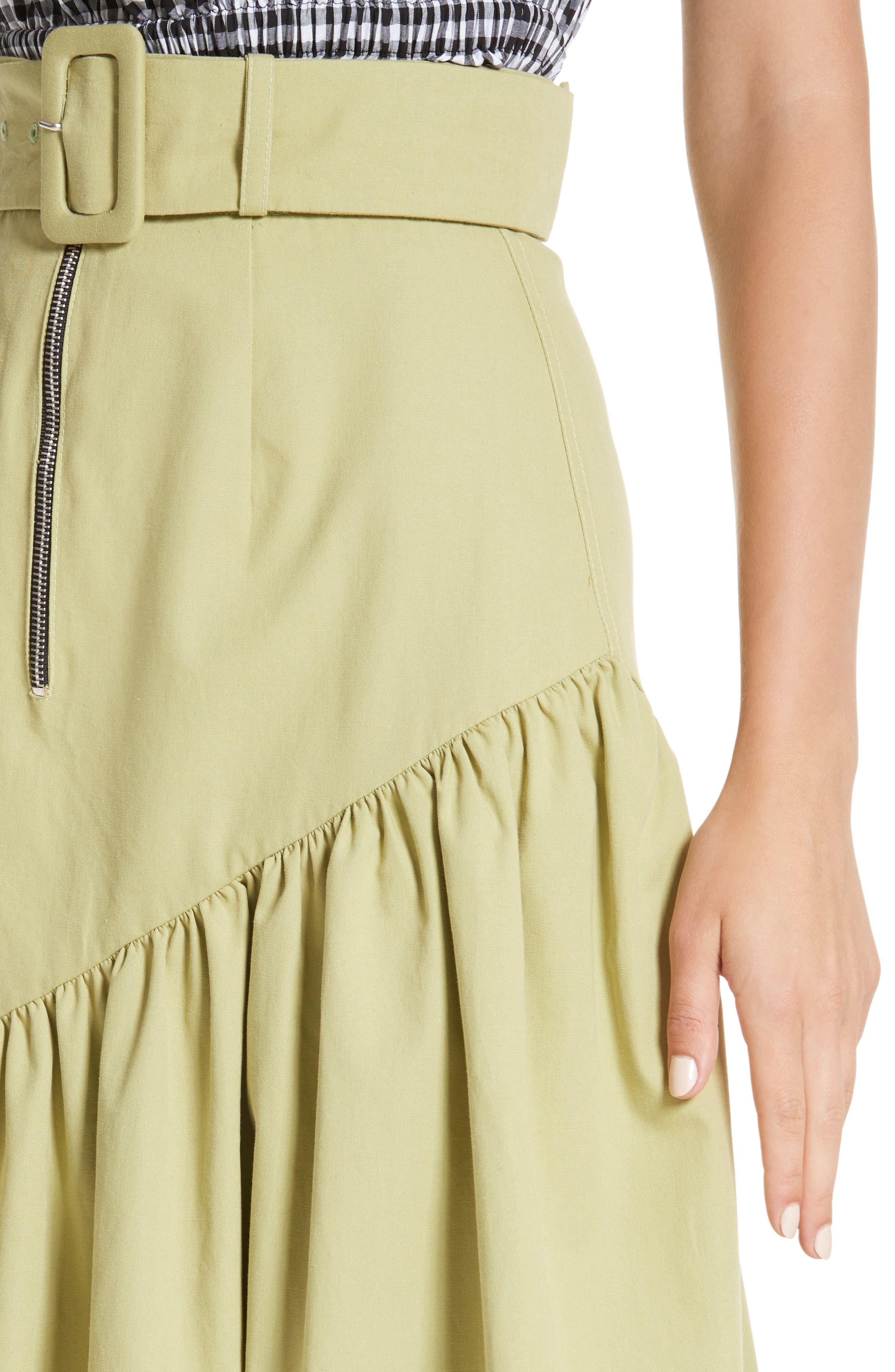 Belted High Waist Ruffle Skirt,                             Alternate thumbnail 4, color,
