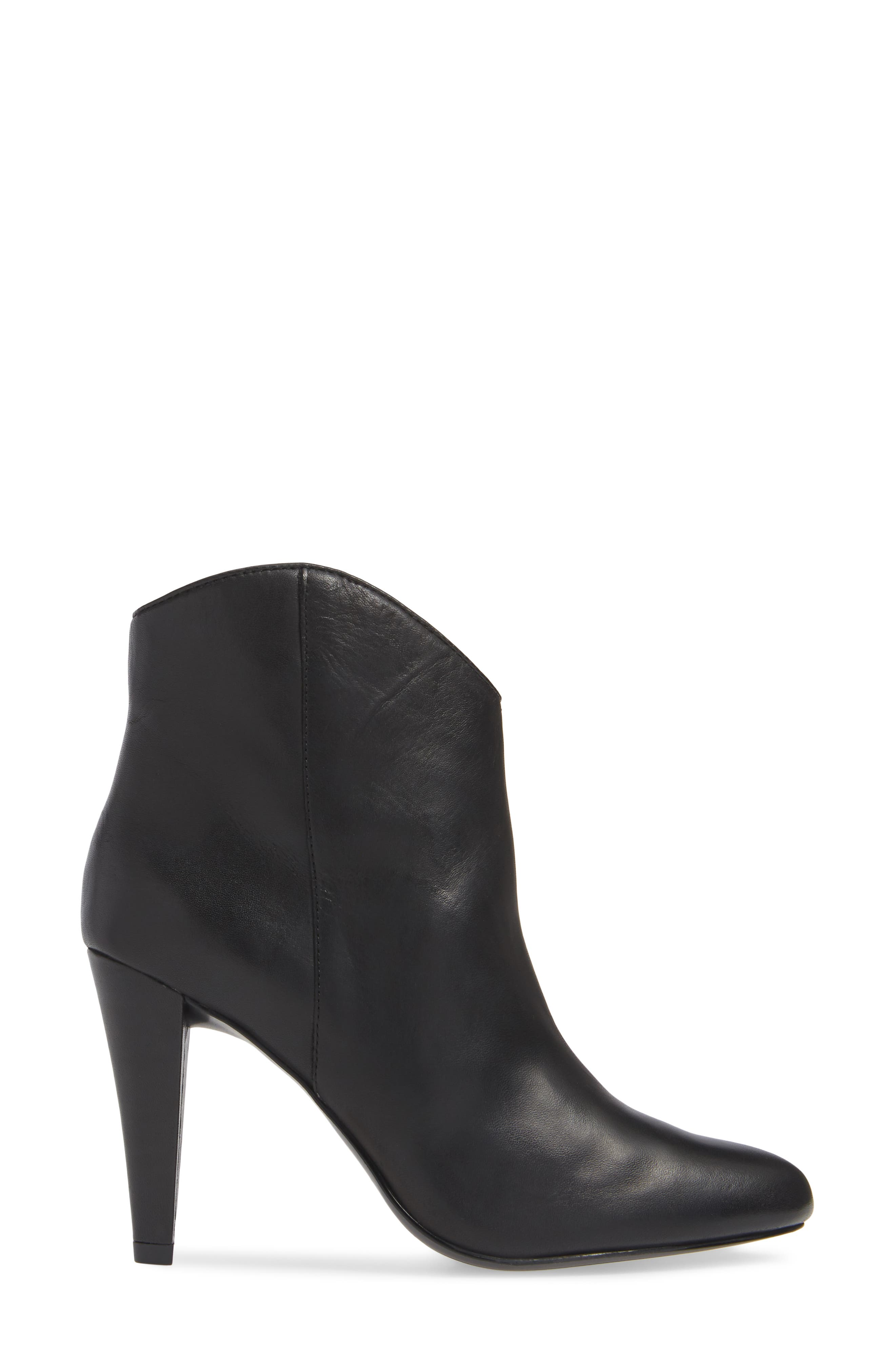 Makayla Bootie,                             Alternate thumbnail 3, color,                             BLACK LEATHER
