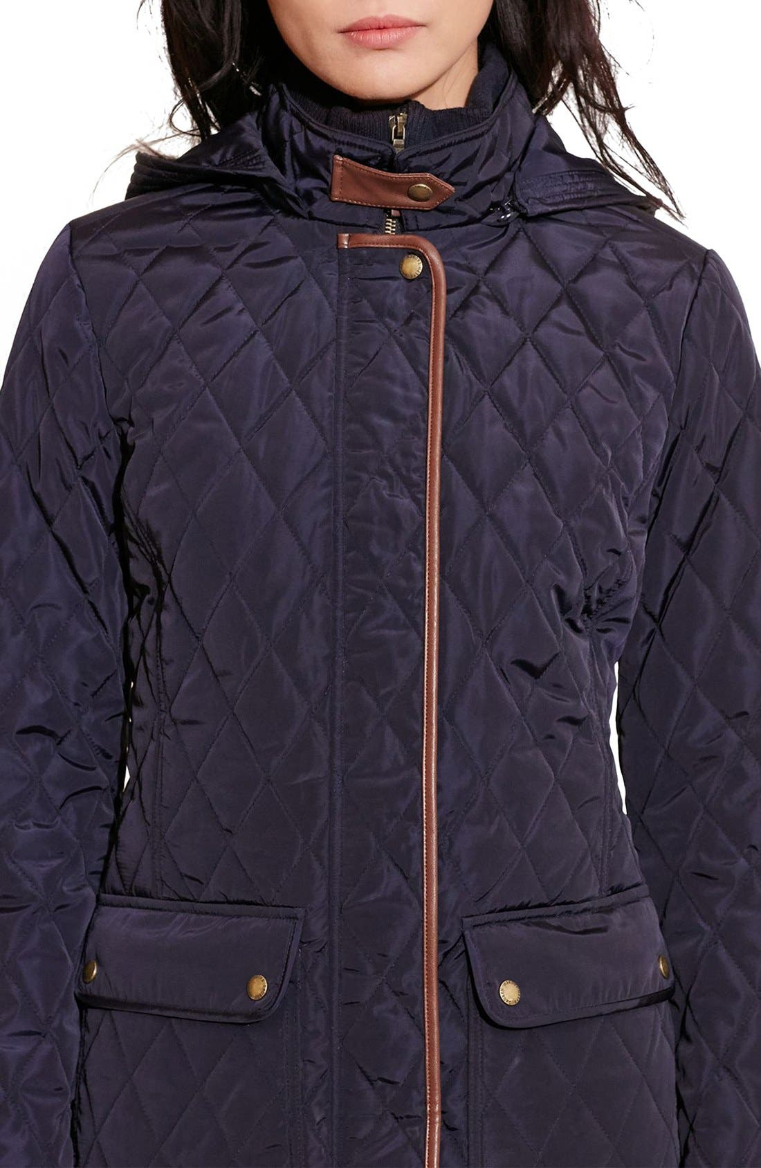 Diamond Quilted Coat with Faux Leather Trim,                             Alternate thumbnail 12, color,