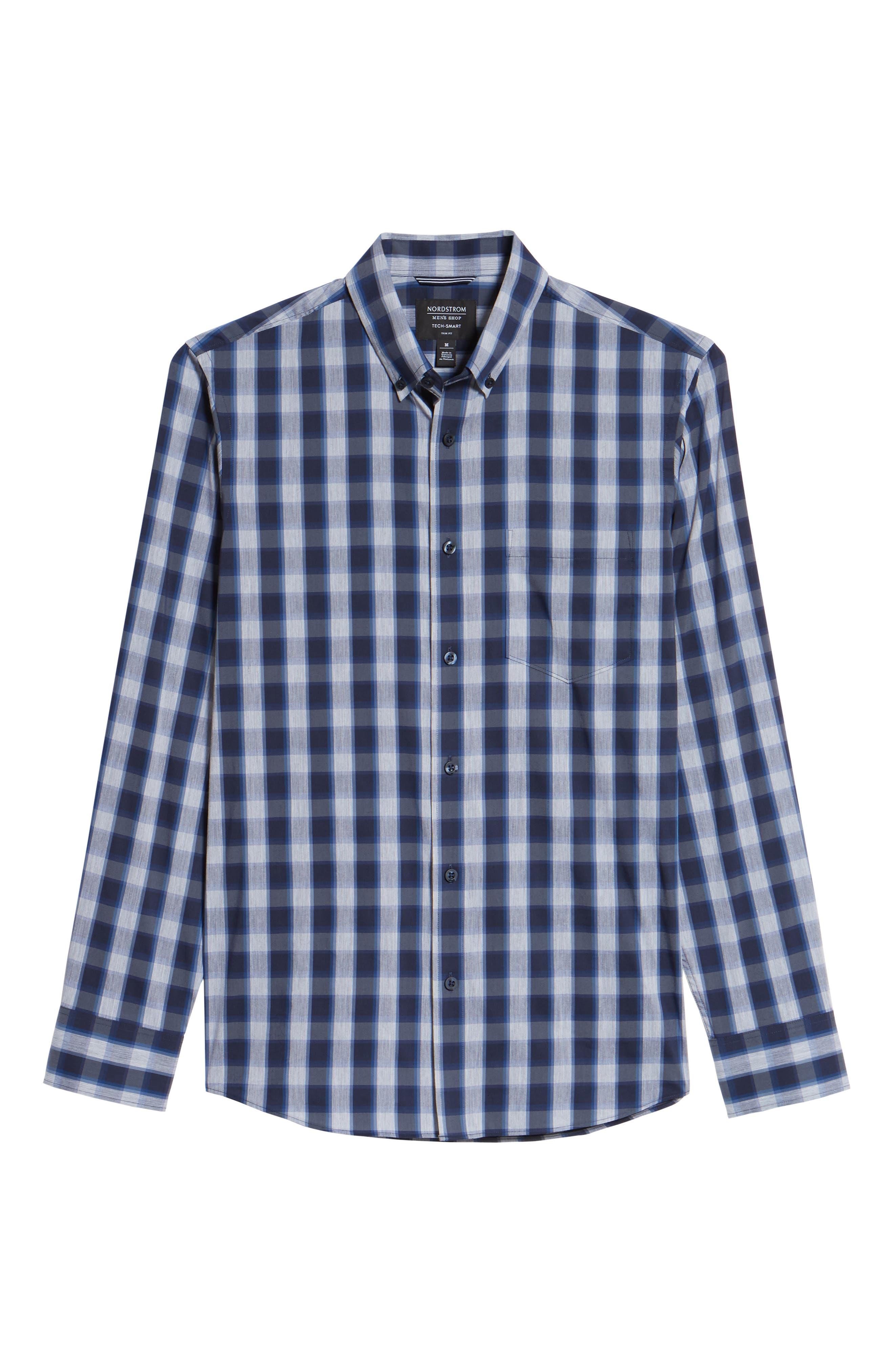 Spade Tech-Smart Trim Fit Check Sport Shirt,                             Alternate thumbnail 6, color,                             410