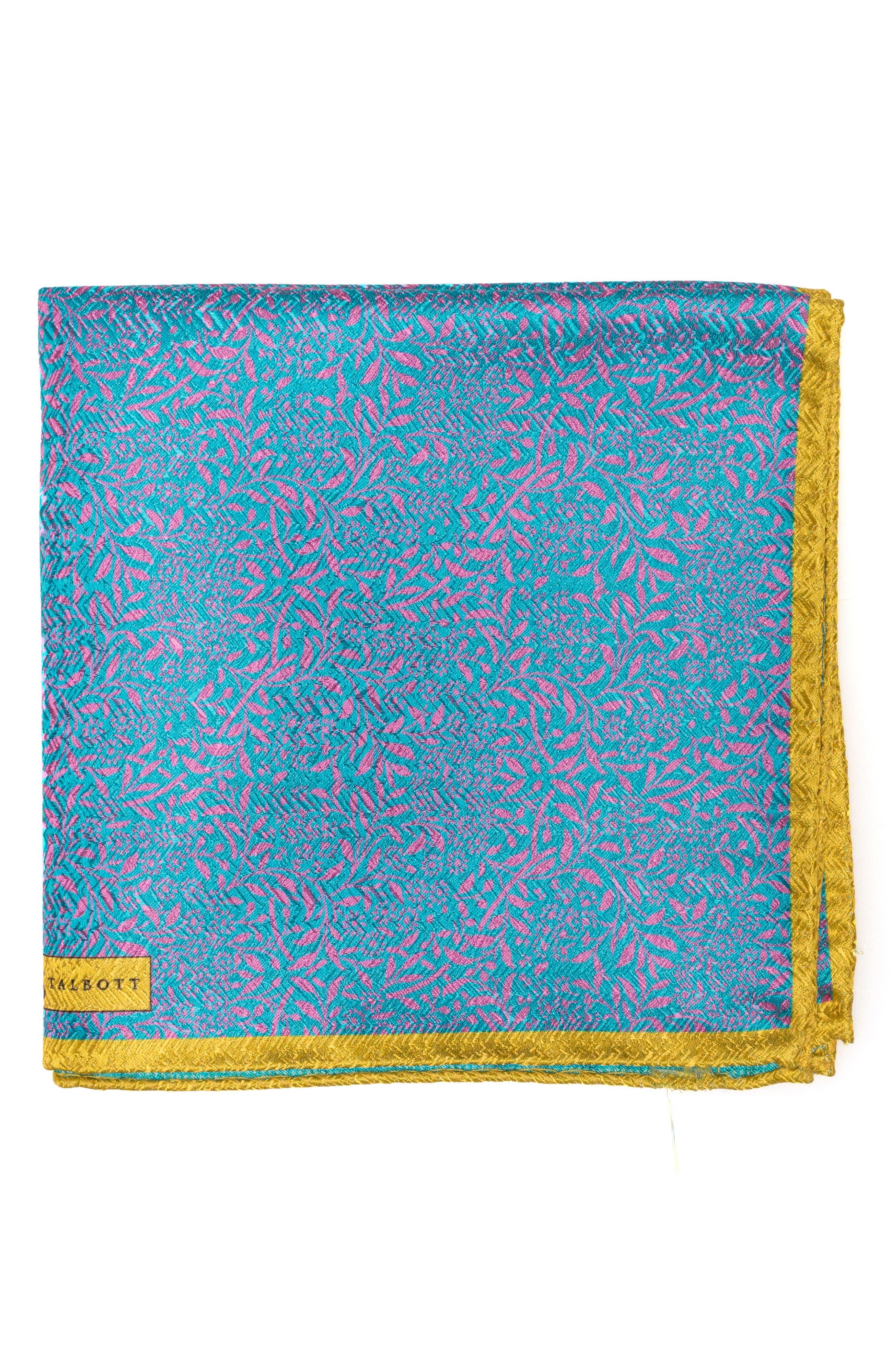 Floral Silk Pocket Square,                         Main,                         color,
