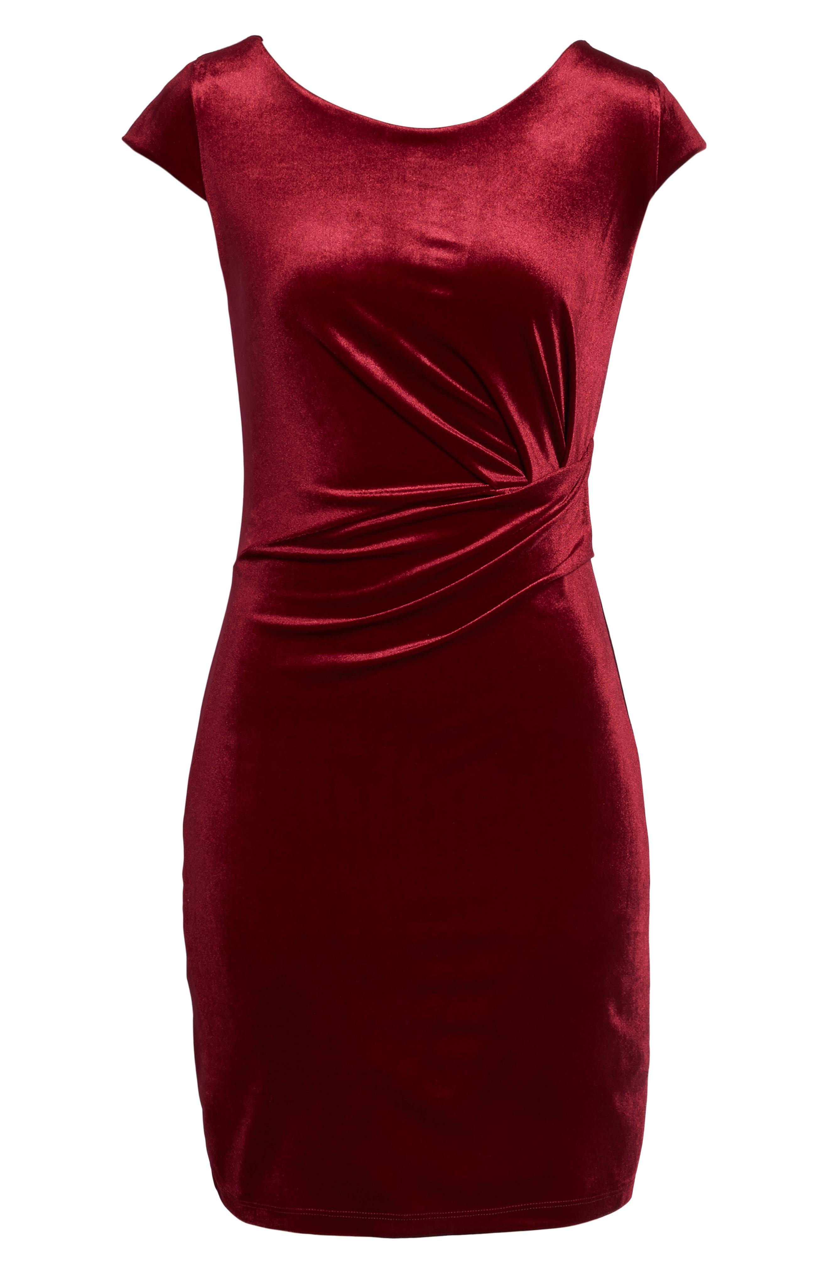 Pleat Side Velvet Dress,                             Alternate thumbnail 6, color,                             935