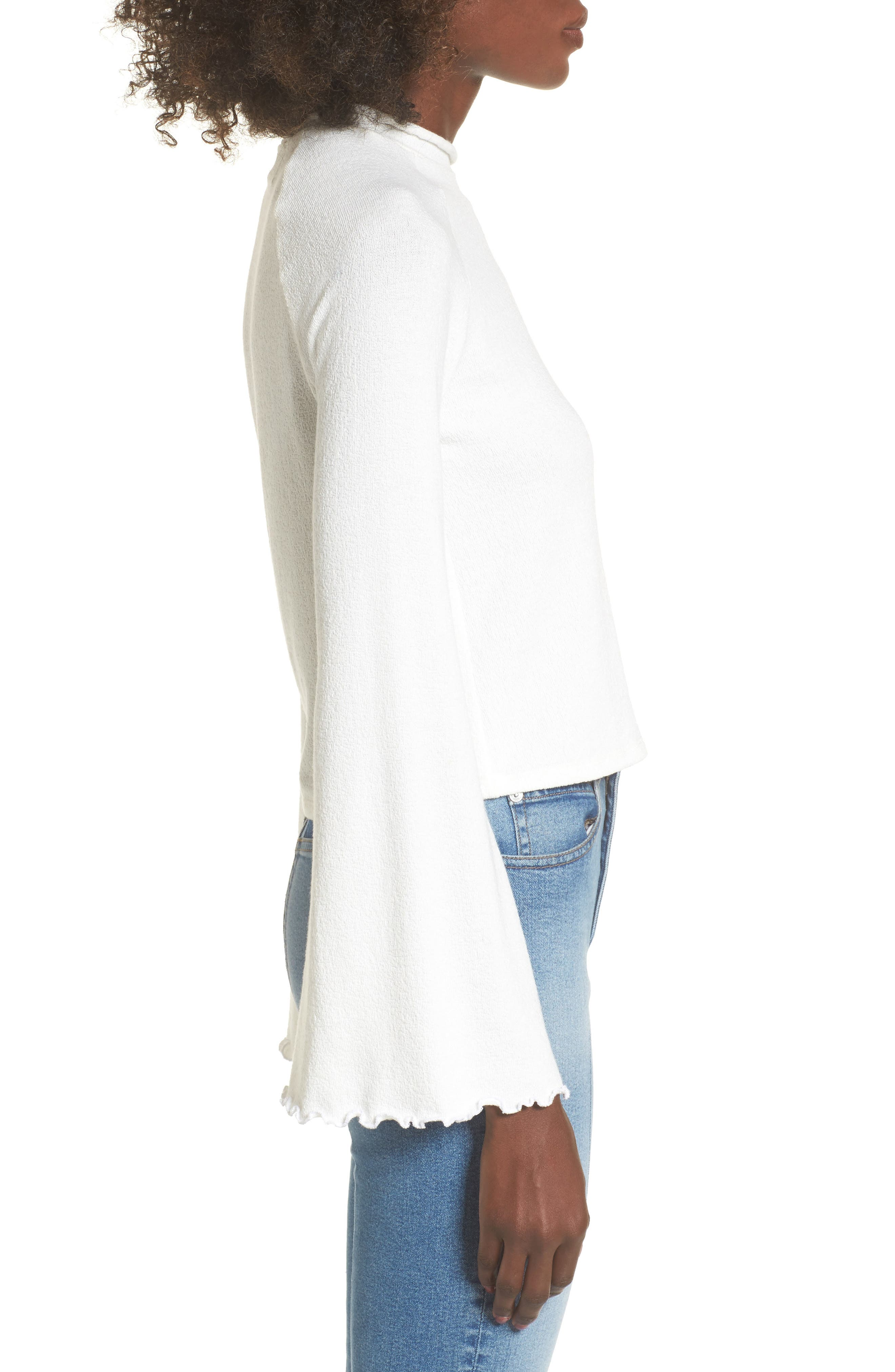 Knit Bell Sleeve Top,                             Alternate thumbnail 3, color,                             100