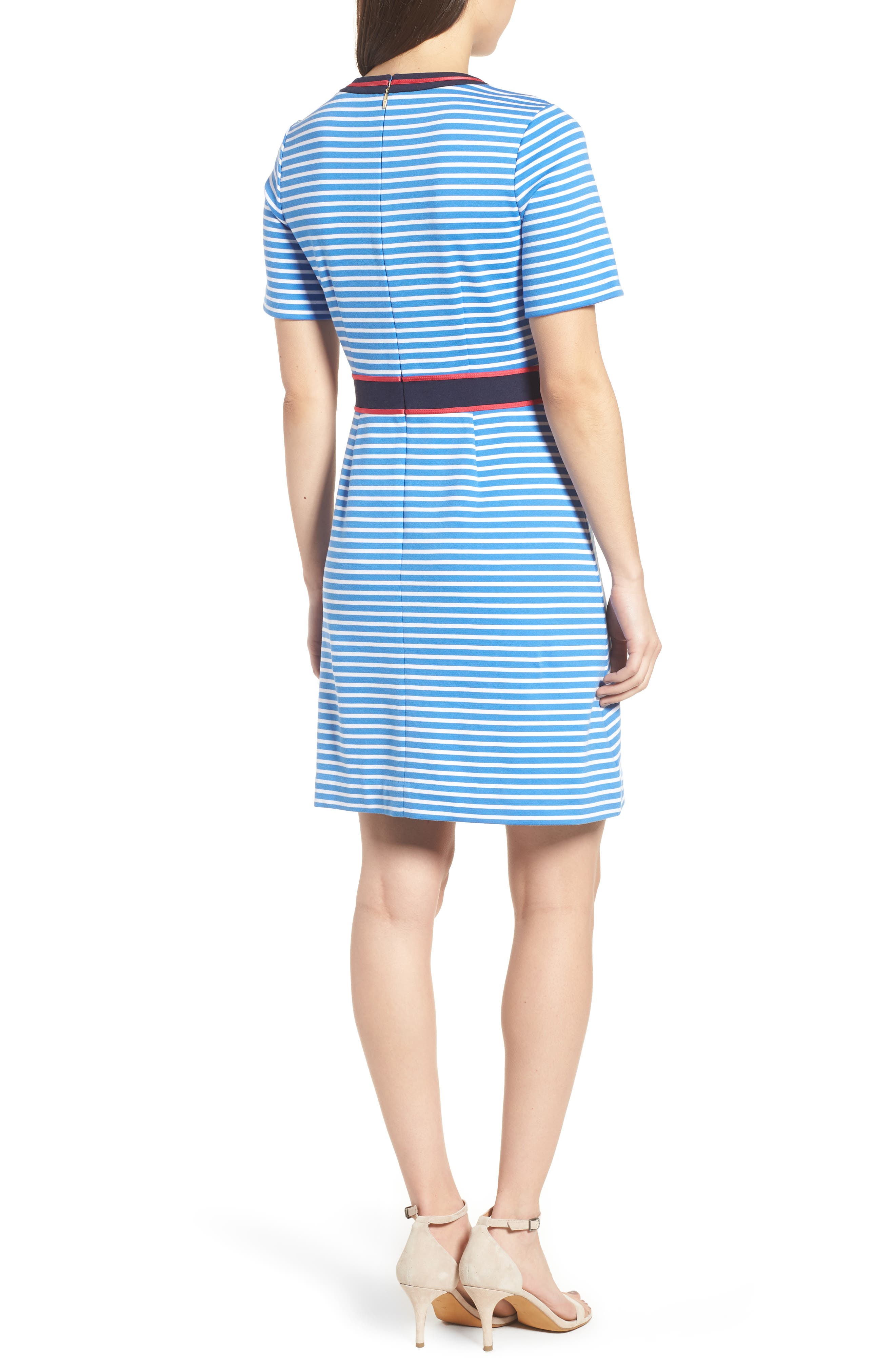 Stripe Persley Ponte Fit & Flare Dress,                             Alternate thumbnail 2, color,                             452