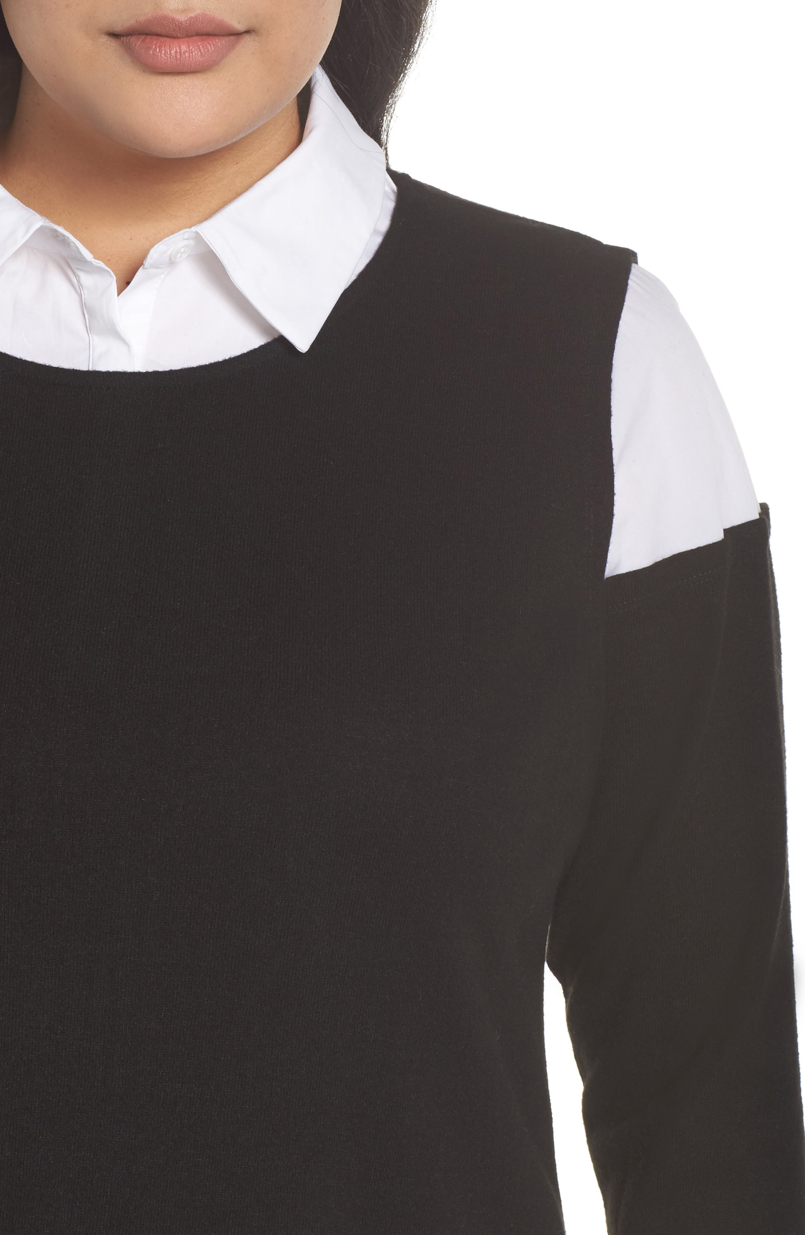 Mix Media Brushed Jersey Top,                             Alternate thumbnail 4, color,                             006