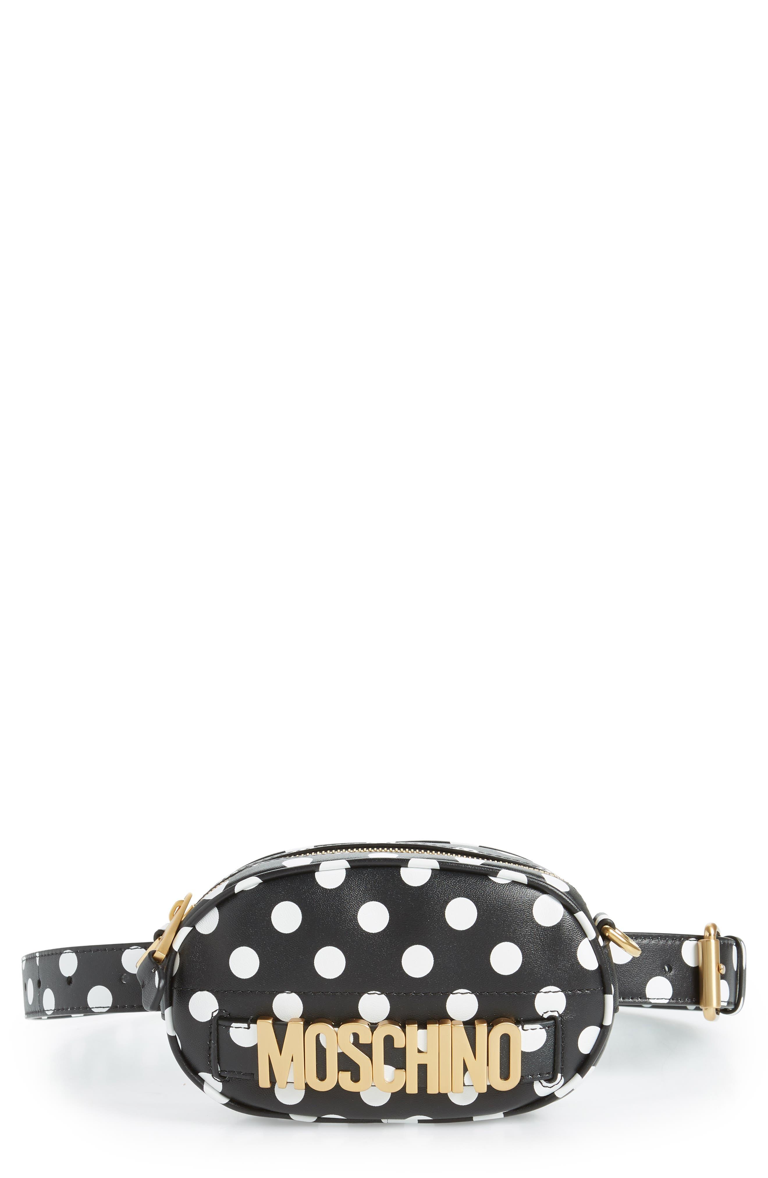Logo Polka Dot Belt Bag,                             Main thumbnail 1, color,                             BLACK/ WHITE