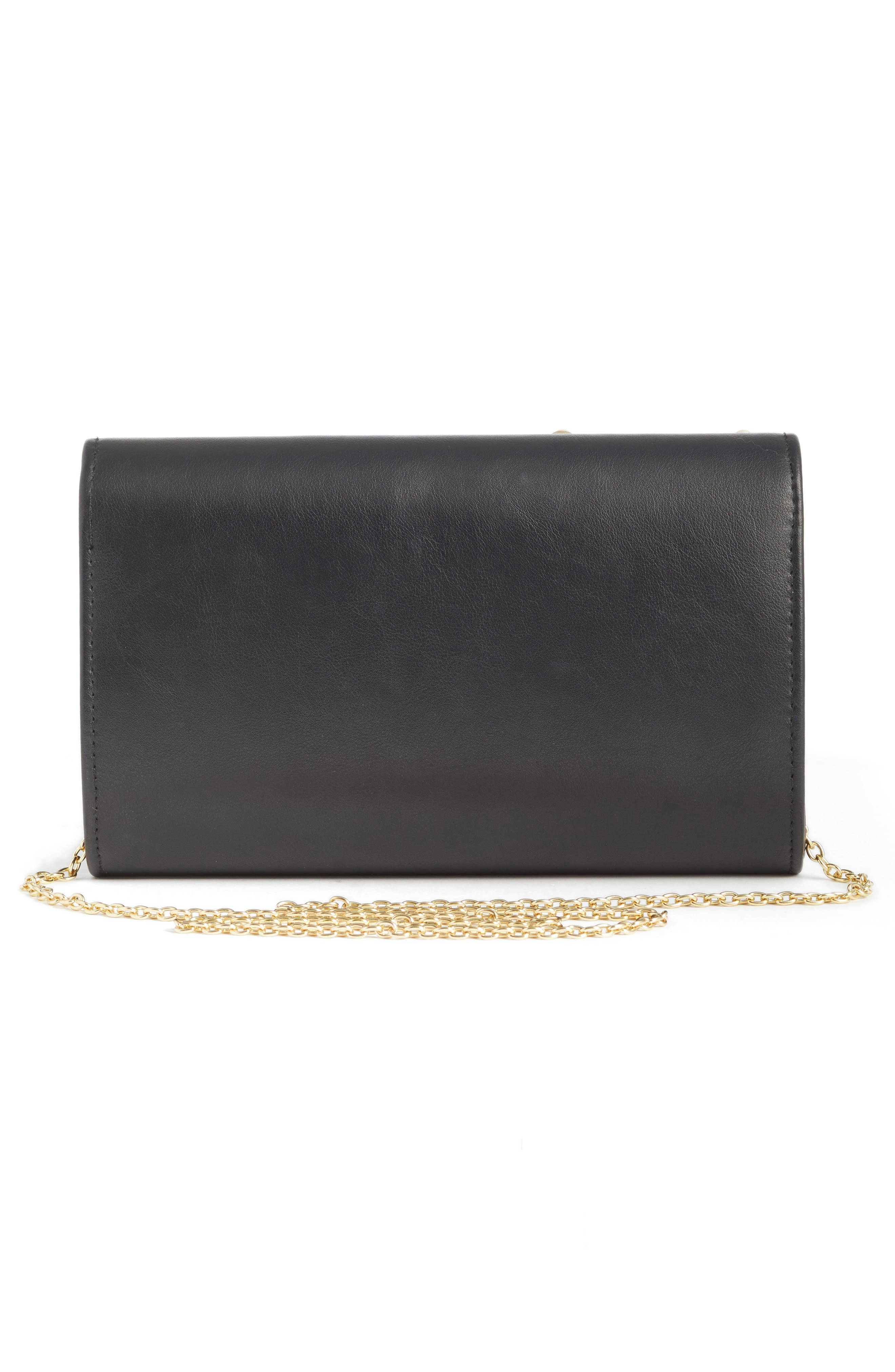 Studded Faux Leather Clutch,                             Alternate thumbnail 3, color,                             001