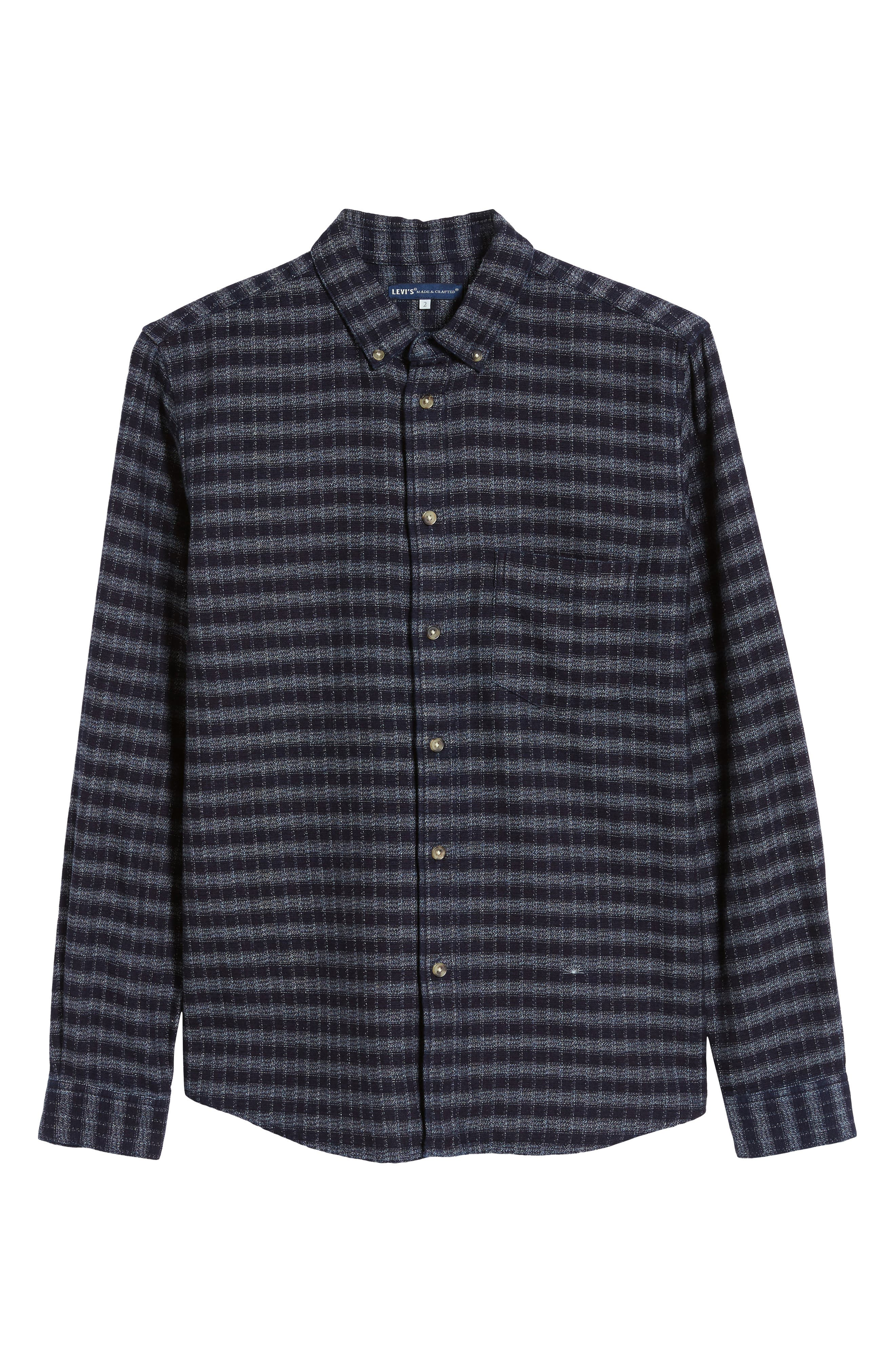 Standard Check Sport Shirt,                             Alternate thumbnail 5, color,                             INDIGO CHECK