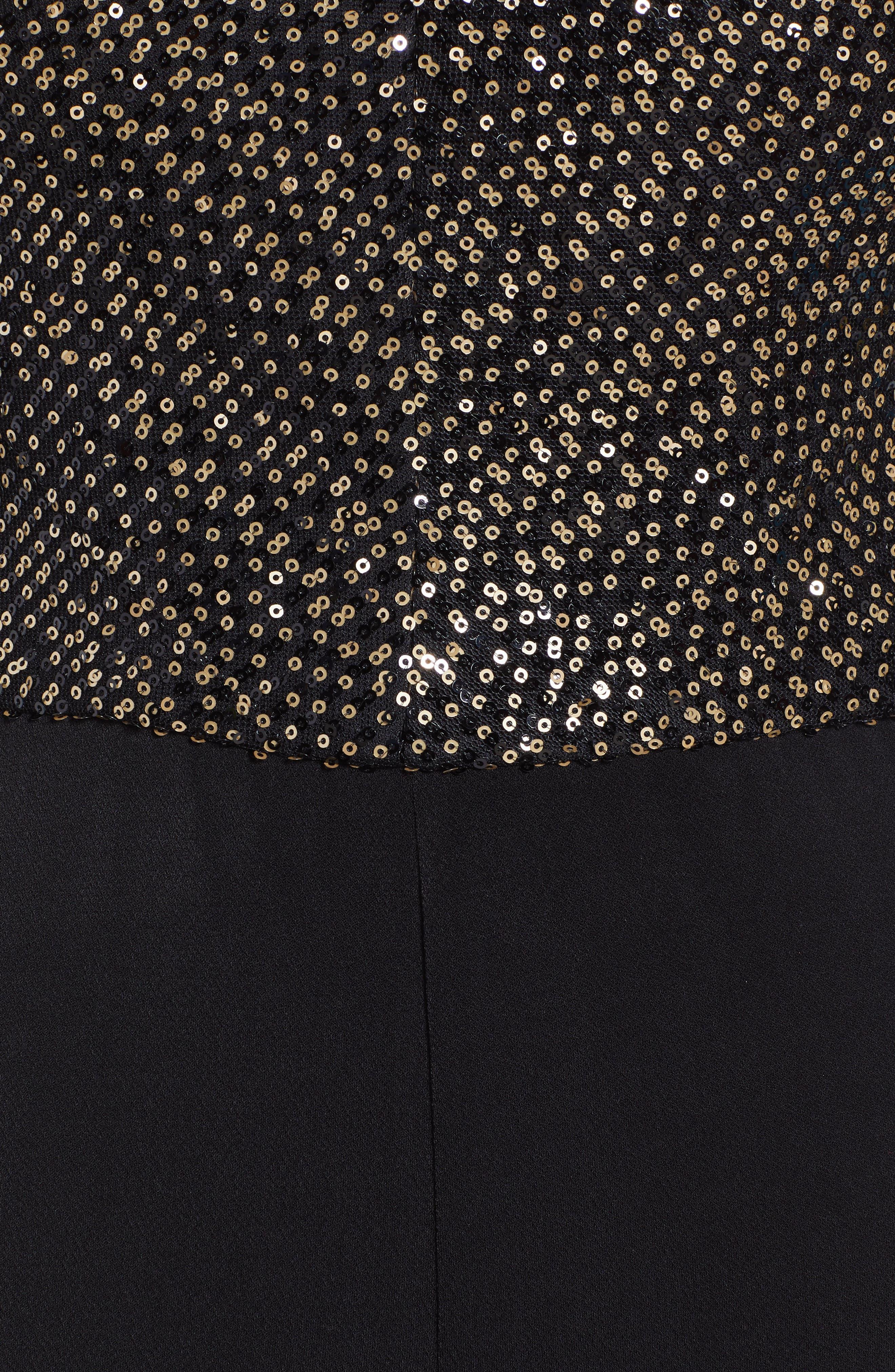 Sequin Bodice Jumpsuit,                             Alternate thumbnail 6, color,                             BLACK