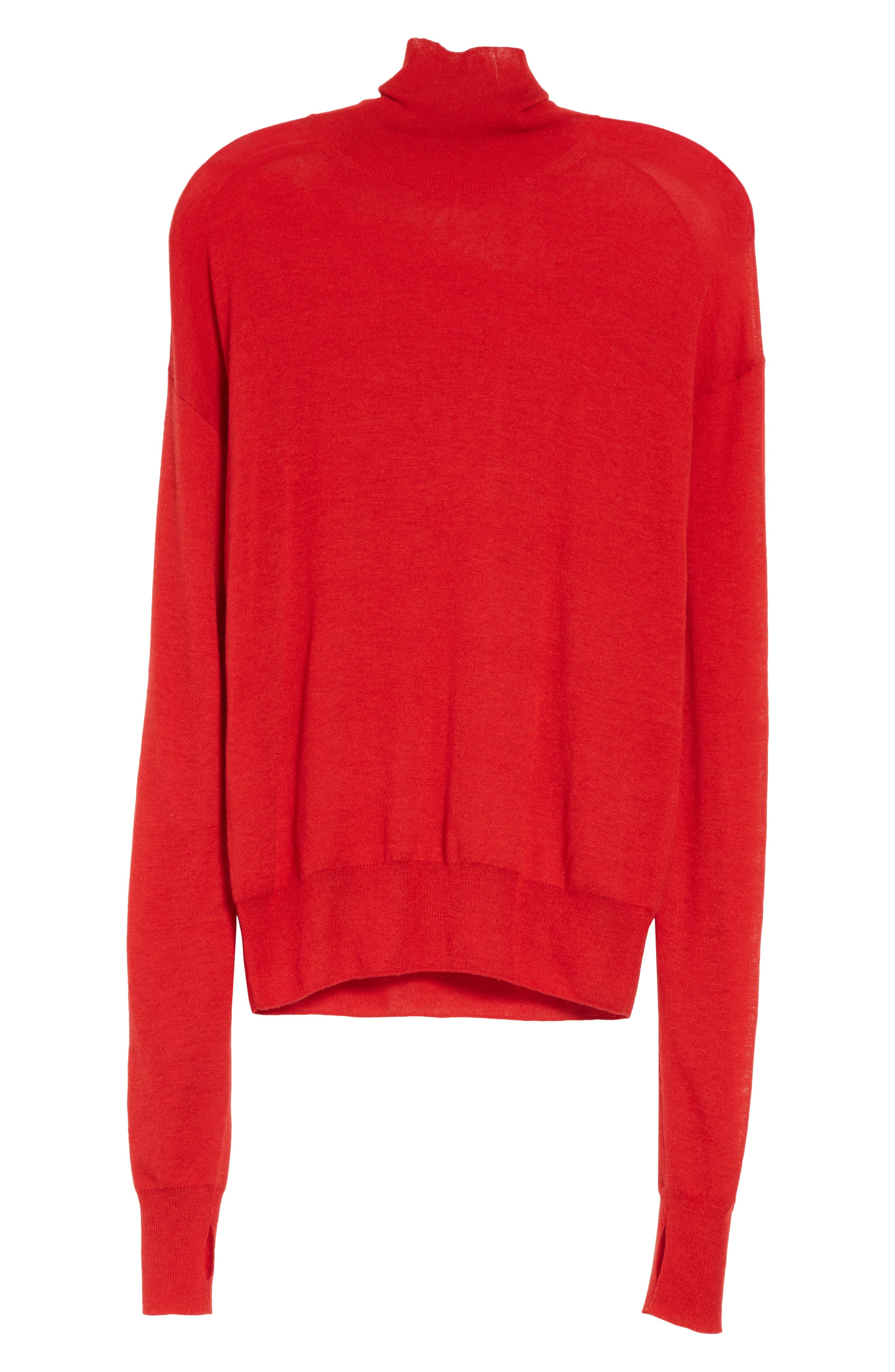 Sheer Panel Wool & Silk Turtleneck Sweater,                             Alternate thumbnail 6, color,                             641