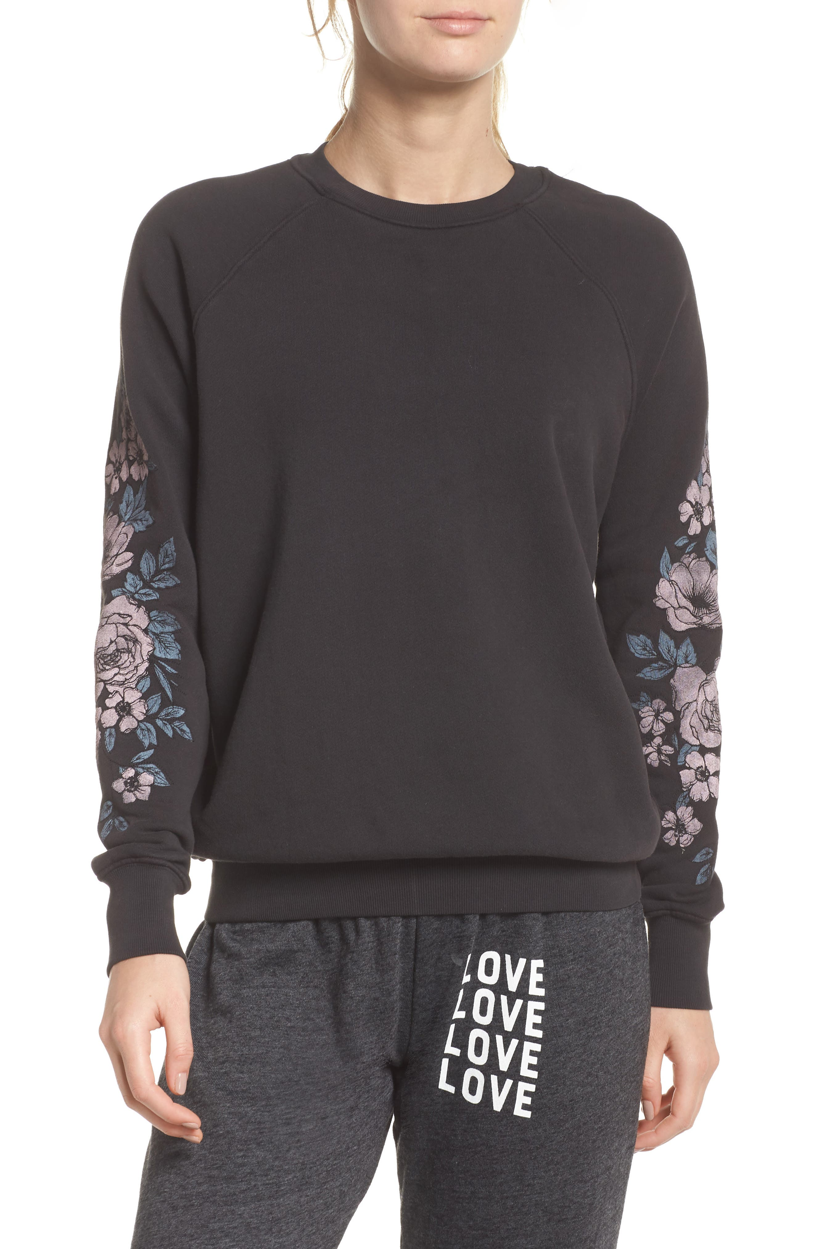 Give Love Sweatshirt,                         Main,                         color, VINTAGE BLACK