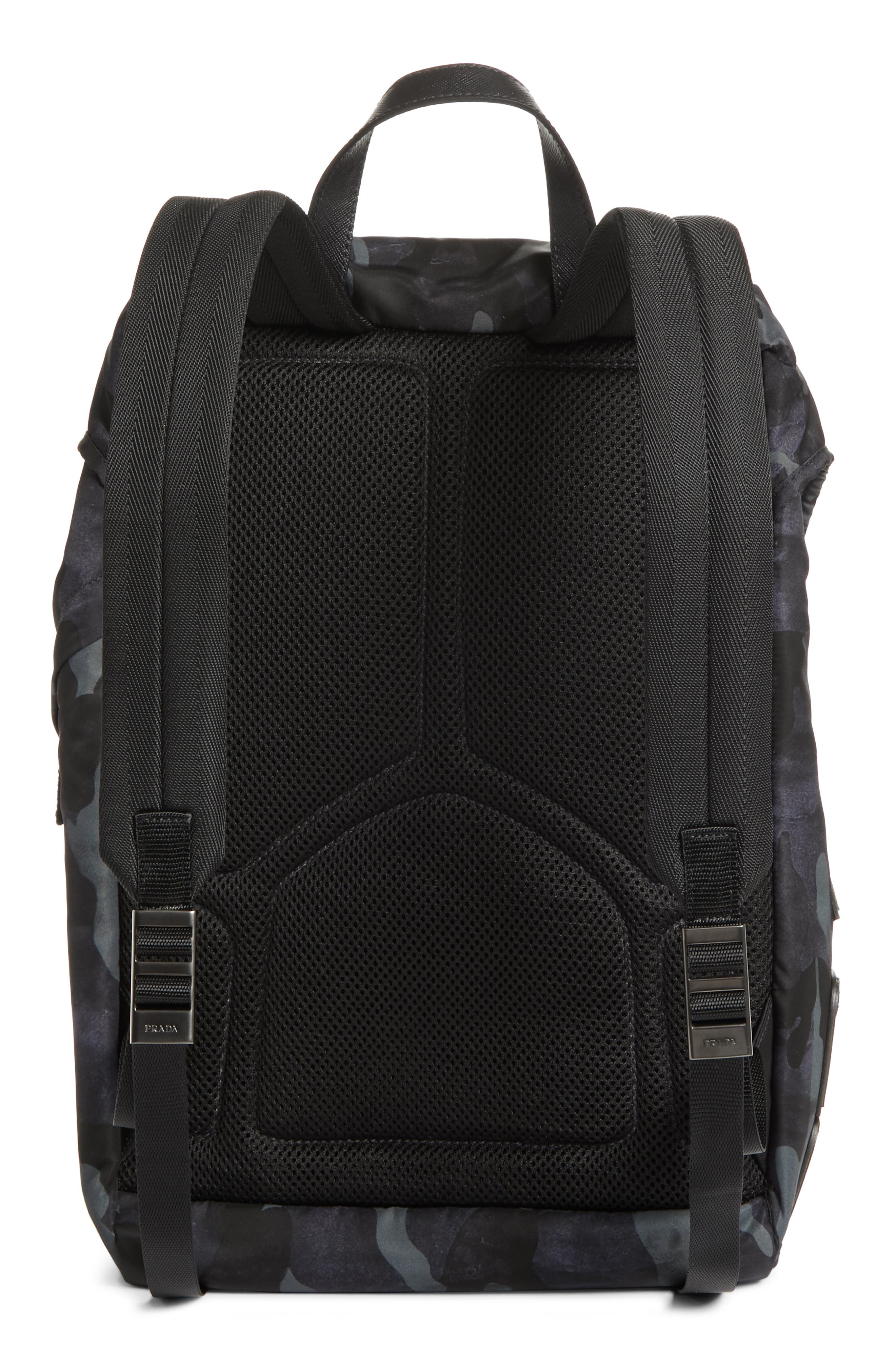 Tessuto Camo Nylon Backpack,                             Alternate thumbnail 3, color,                             BLACK