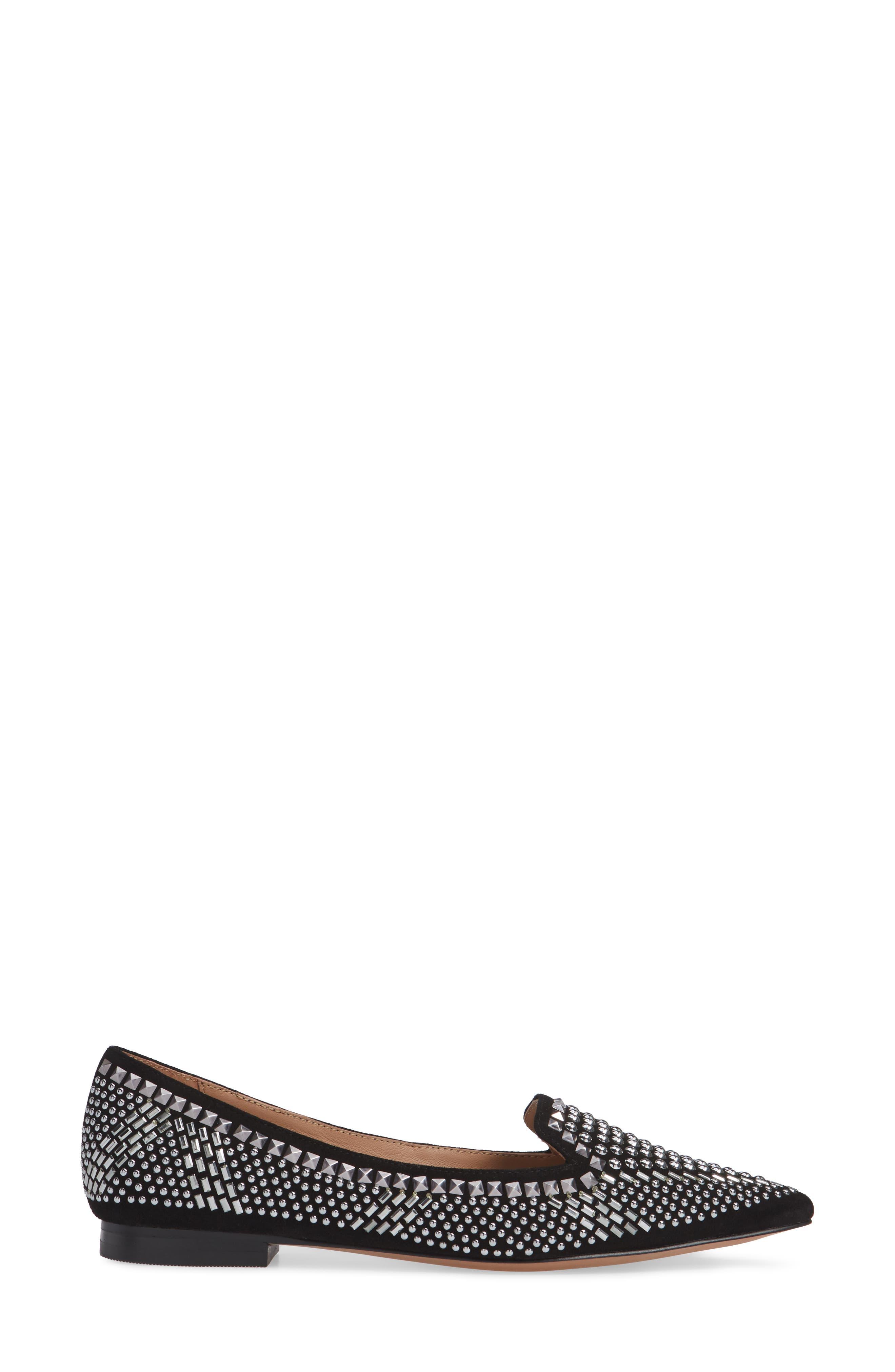 Portia Studded Loafer,                             Alternate thumbnail 3, color,                             BLACK SUEDE