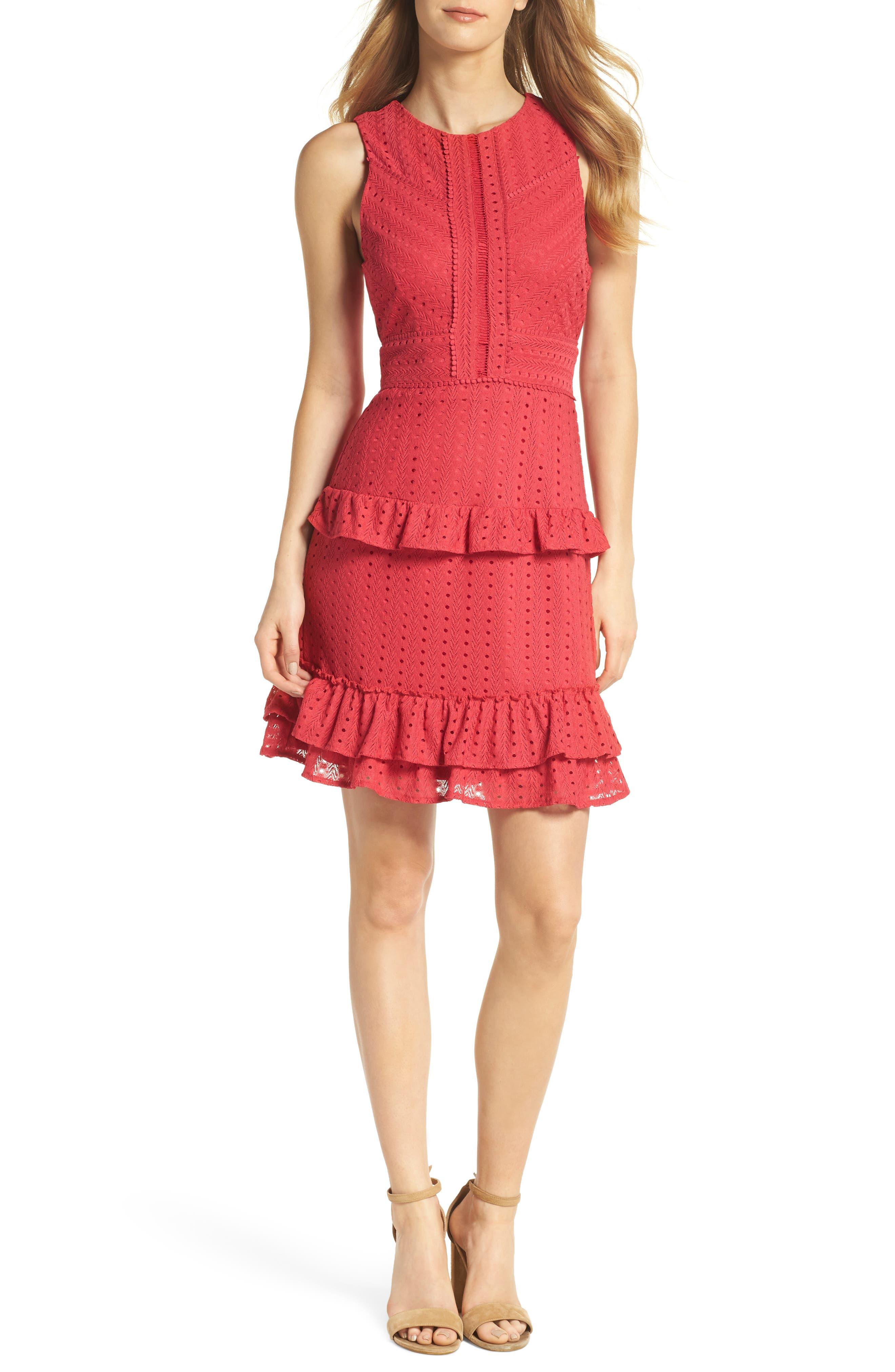 Sleeveless Ruffle Knit Sheath Dress,                         Main,                         color, 600