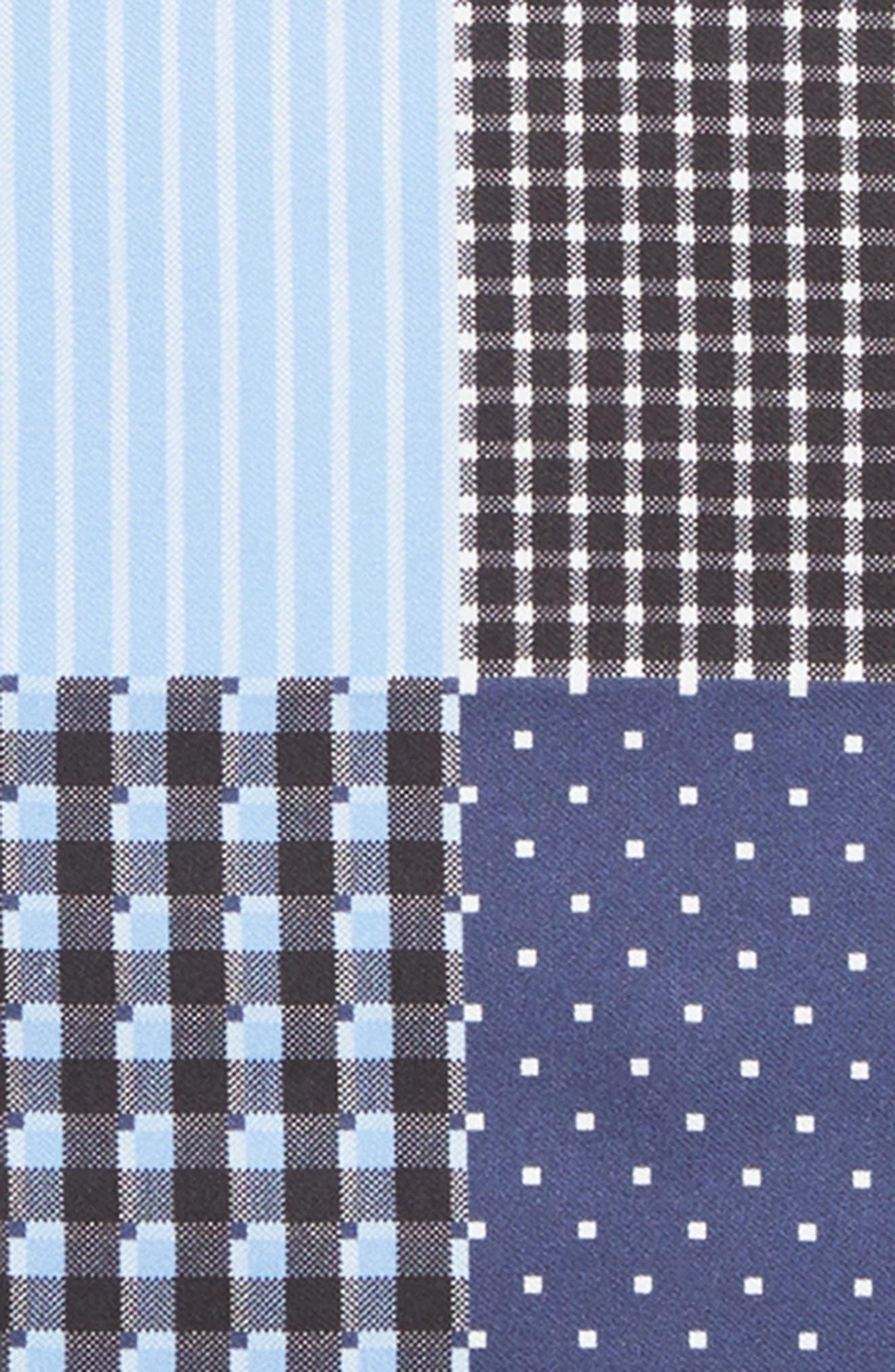 Four Panel Silk Pocket Square,                             Alternate thumbnail 3, color,                             BLACK/ BLUE