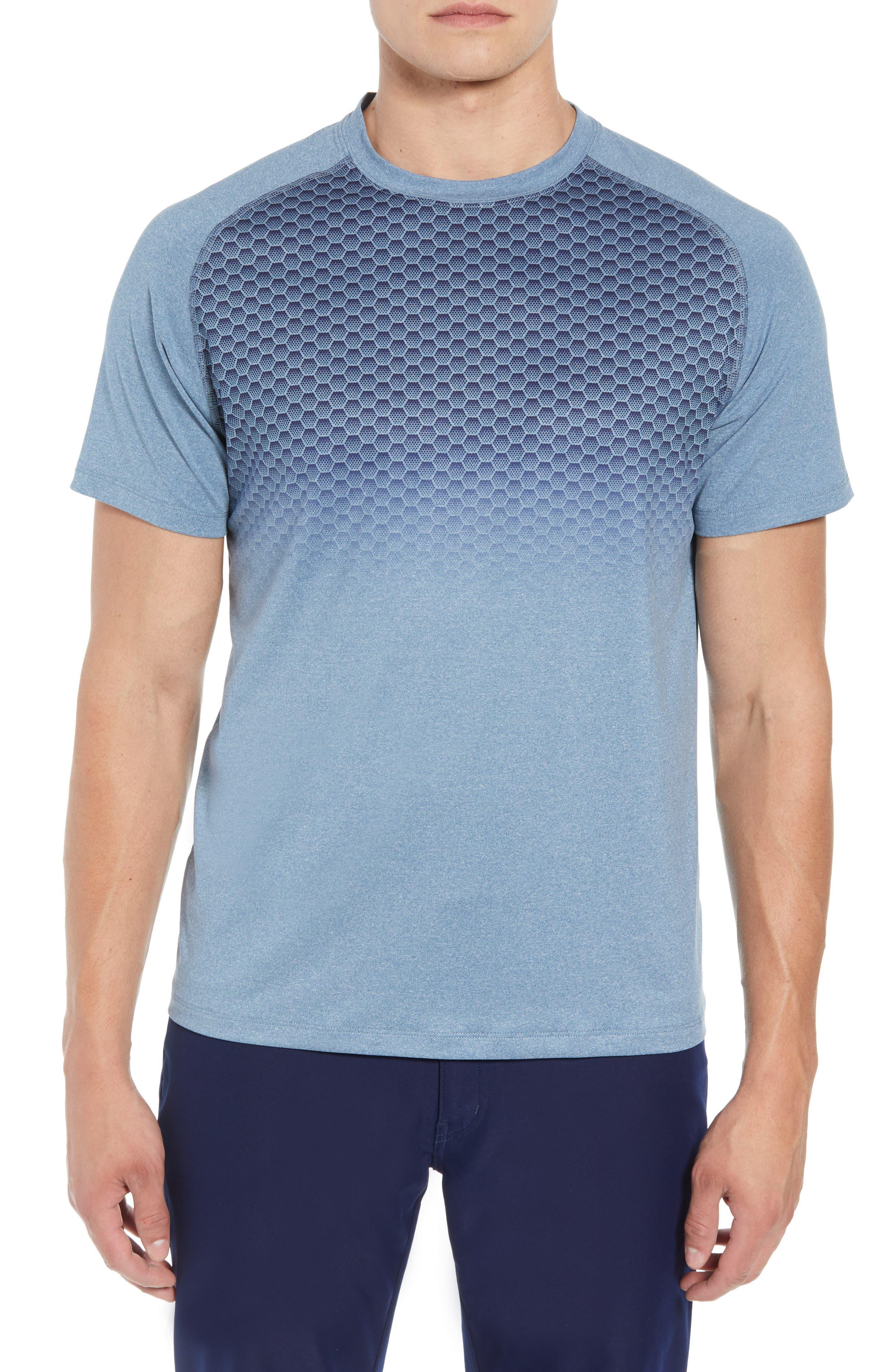 Rio Honeycomb Print Performance T-Shirt,                             Main thumbnail 1, color,                             BROWN