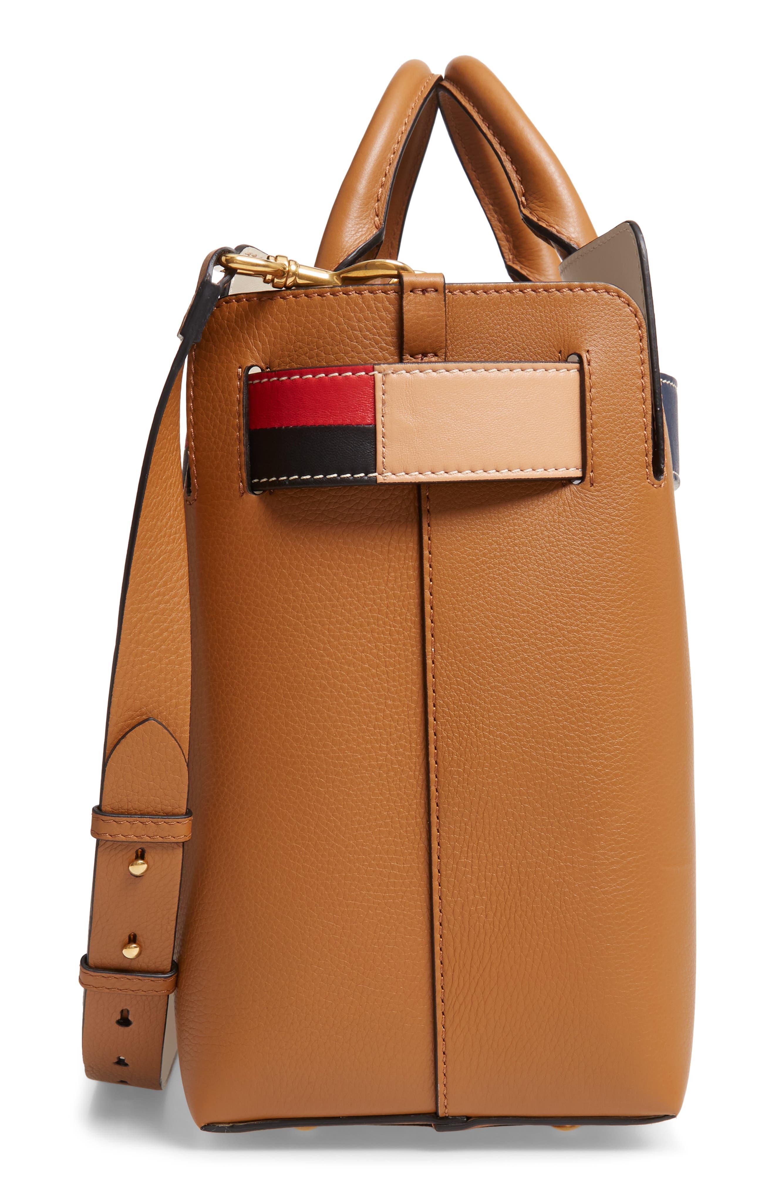 Medium Belt Bag Leather Tote,                             Alternate thumbnail 5, color,                             COGNAC