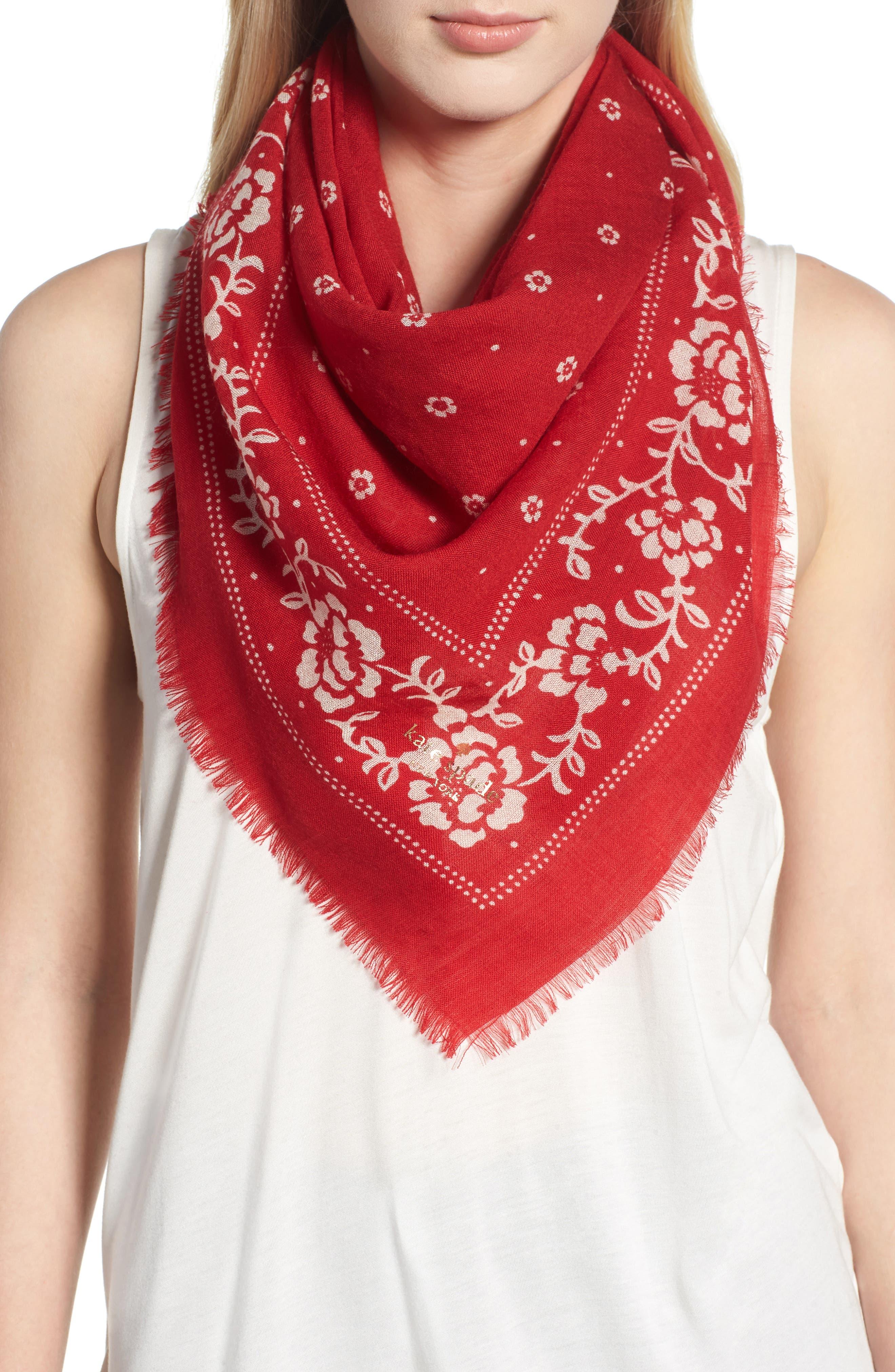 wool bandana,                             Main thumbnail 1, color,                             LINGONBERRY