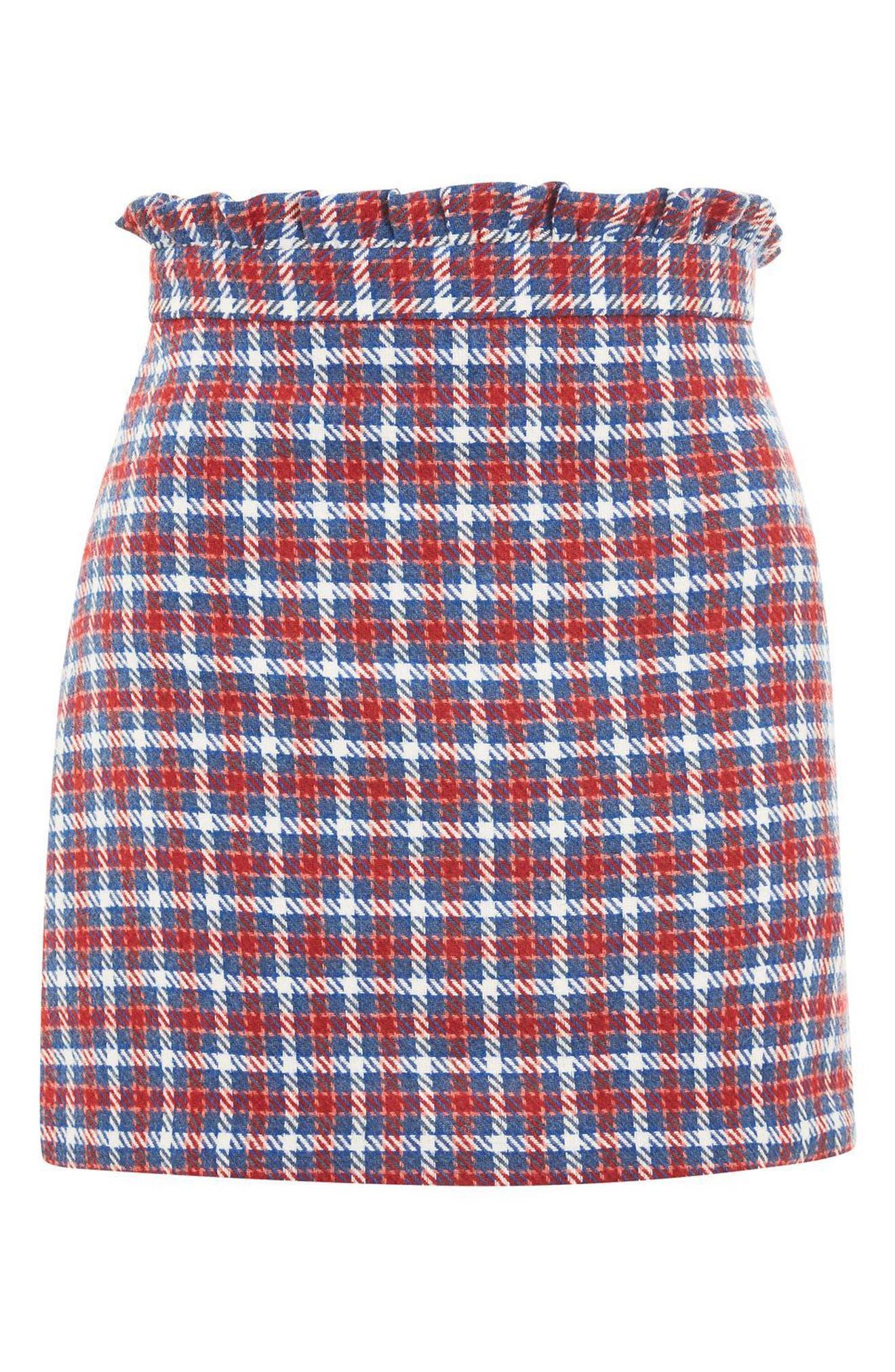Check Frill Waist Miniskirt,                             Alternate thumbnail 3, color,                             400