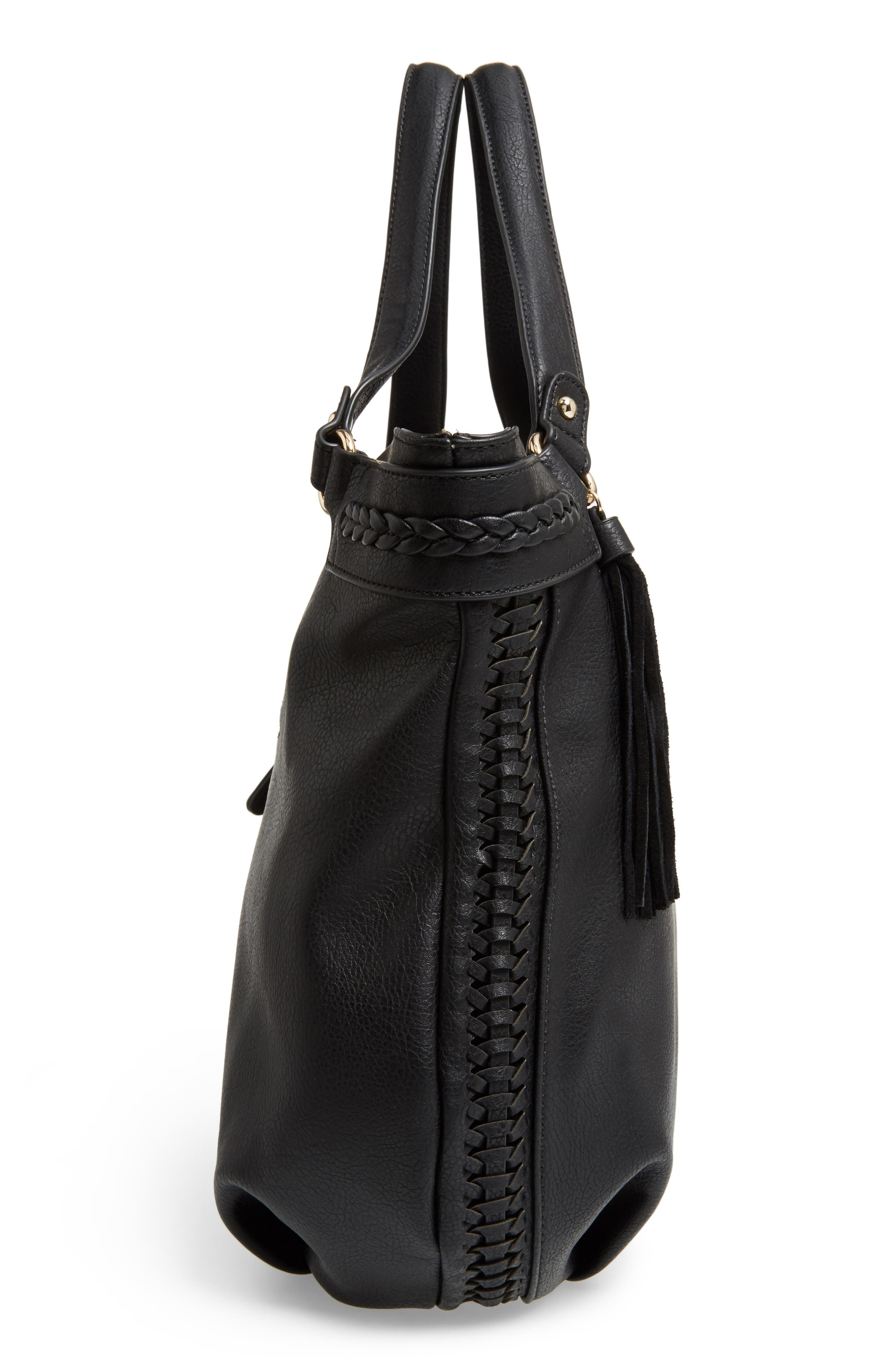 Tara Braided Faux Leather Hobo,                             Alternate thumbnail 5, color,                             001