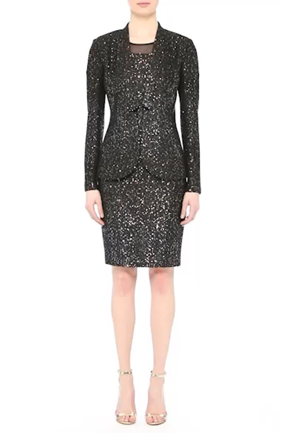 Pranay Sequin Knit Sheath Dress,                             Alternate thumbnail 8, color,                             001