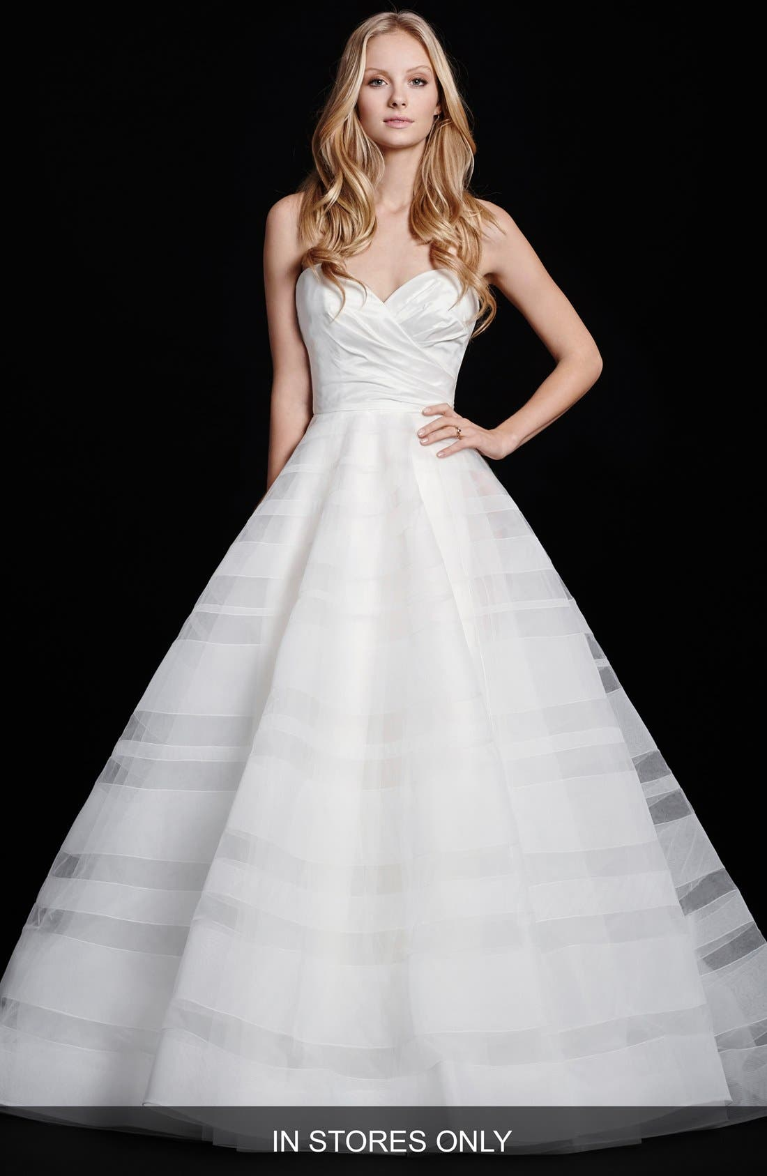 Hayley Paige Lily Strapless Taffeta & Tulle Stripe Skirt Ballgown