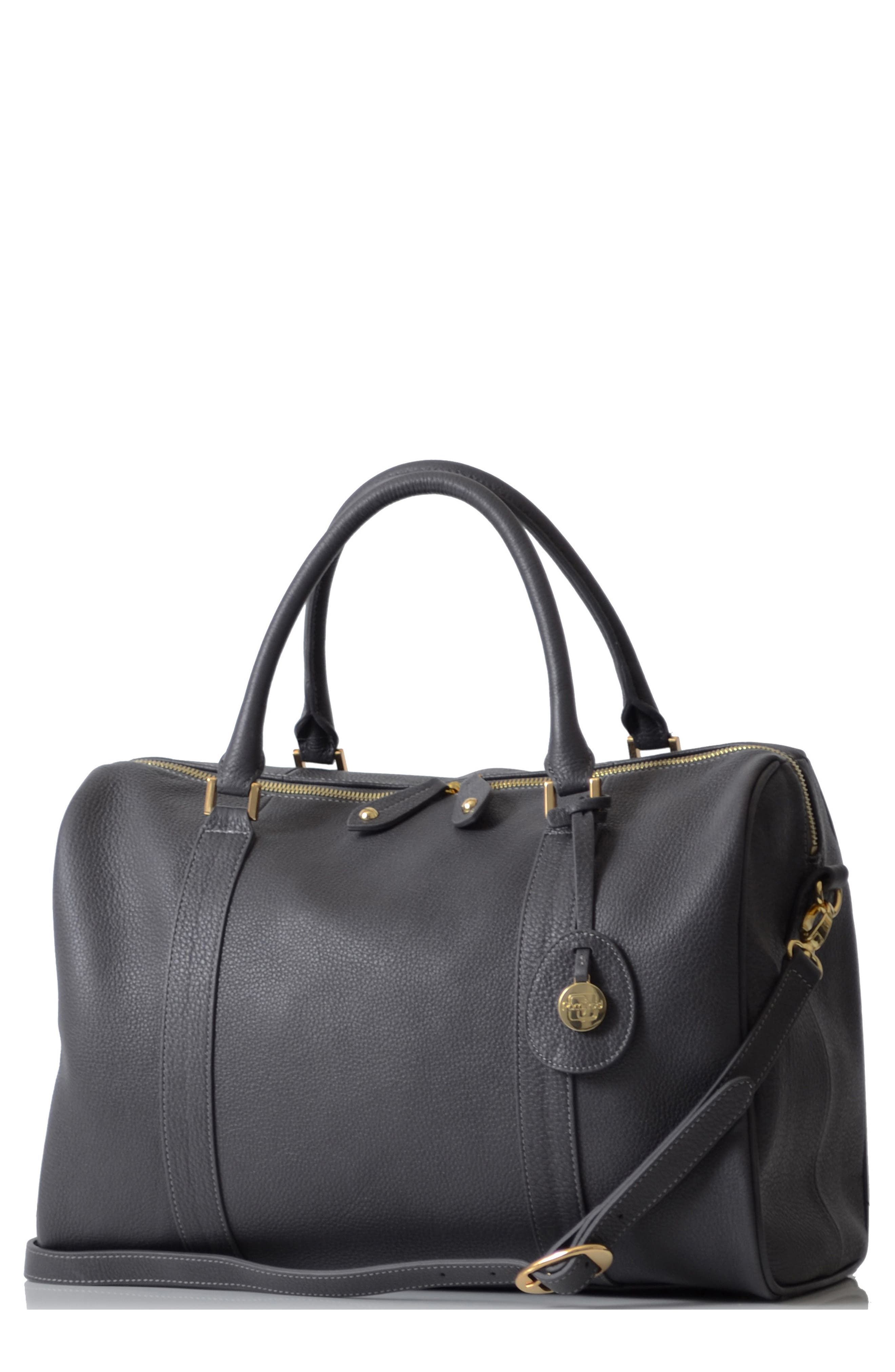 'Firenze' Leather Diaper Bag,                             Main thumbnail 1, color,                             PEWTER