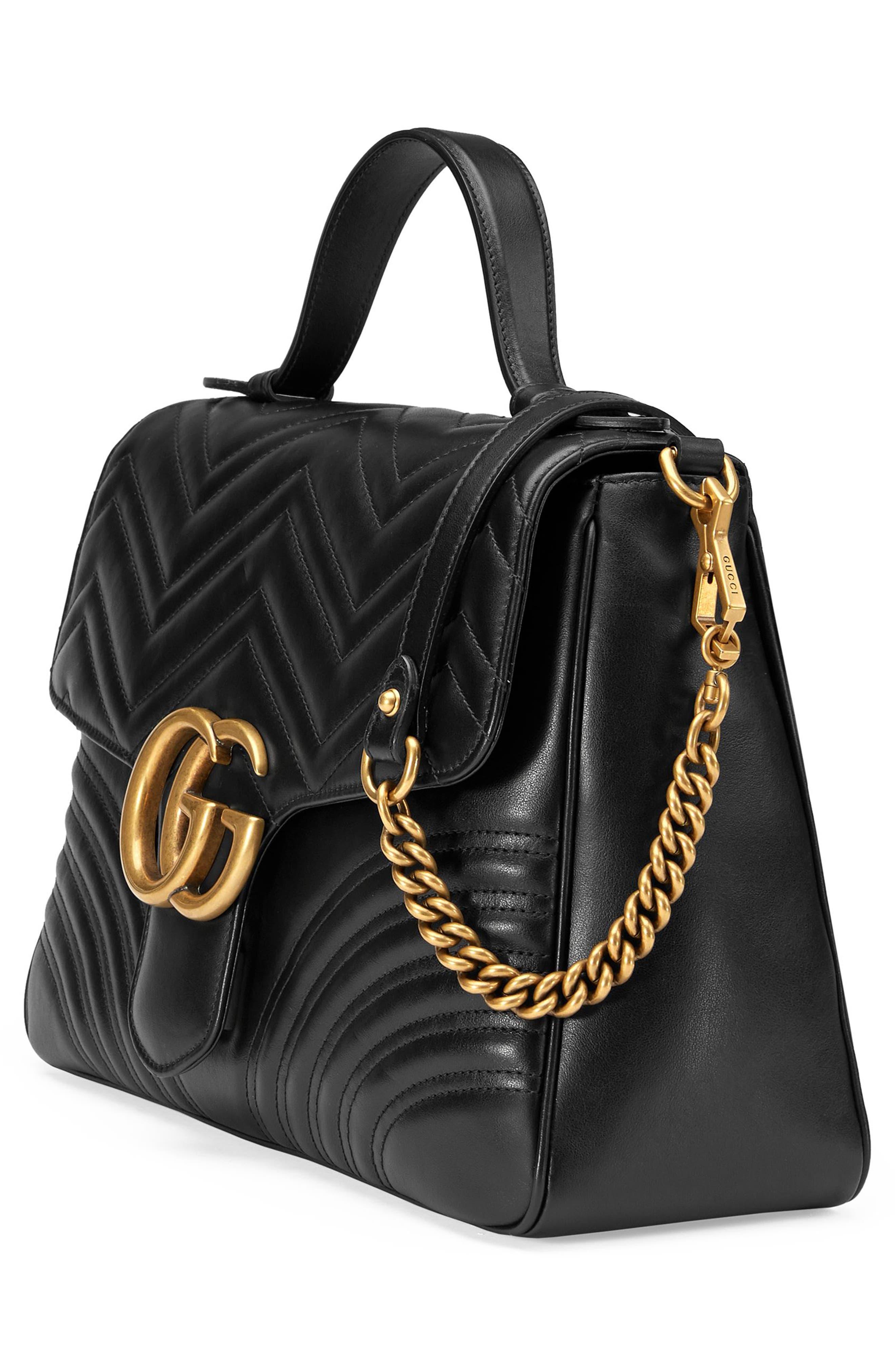 Medium GG Marmont 2.0 Matelassé Leather Top Handle Bag,                             Alternate thumbnail 4, color,                             005