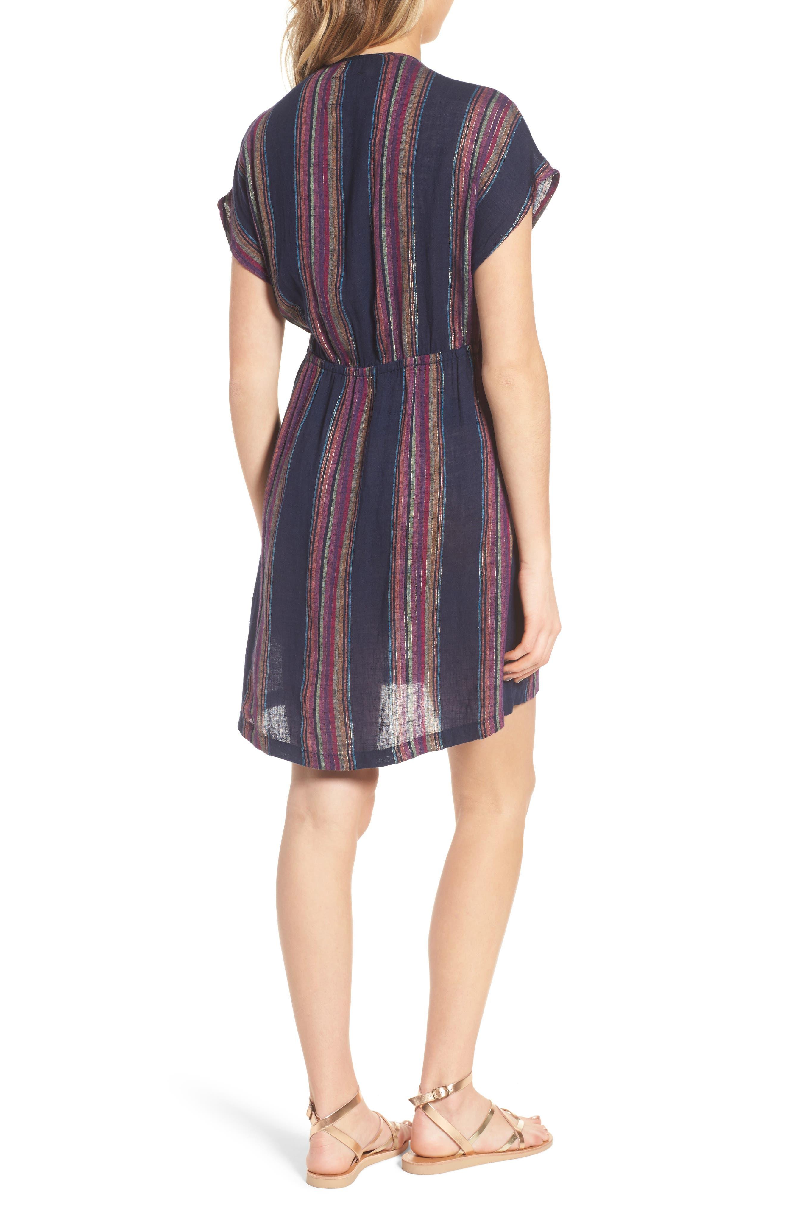 Tie Front Dress,                             Alternate thumbnail 2, color,                             TRINIDAD STRIPE