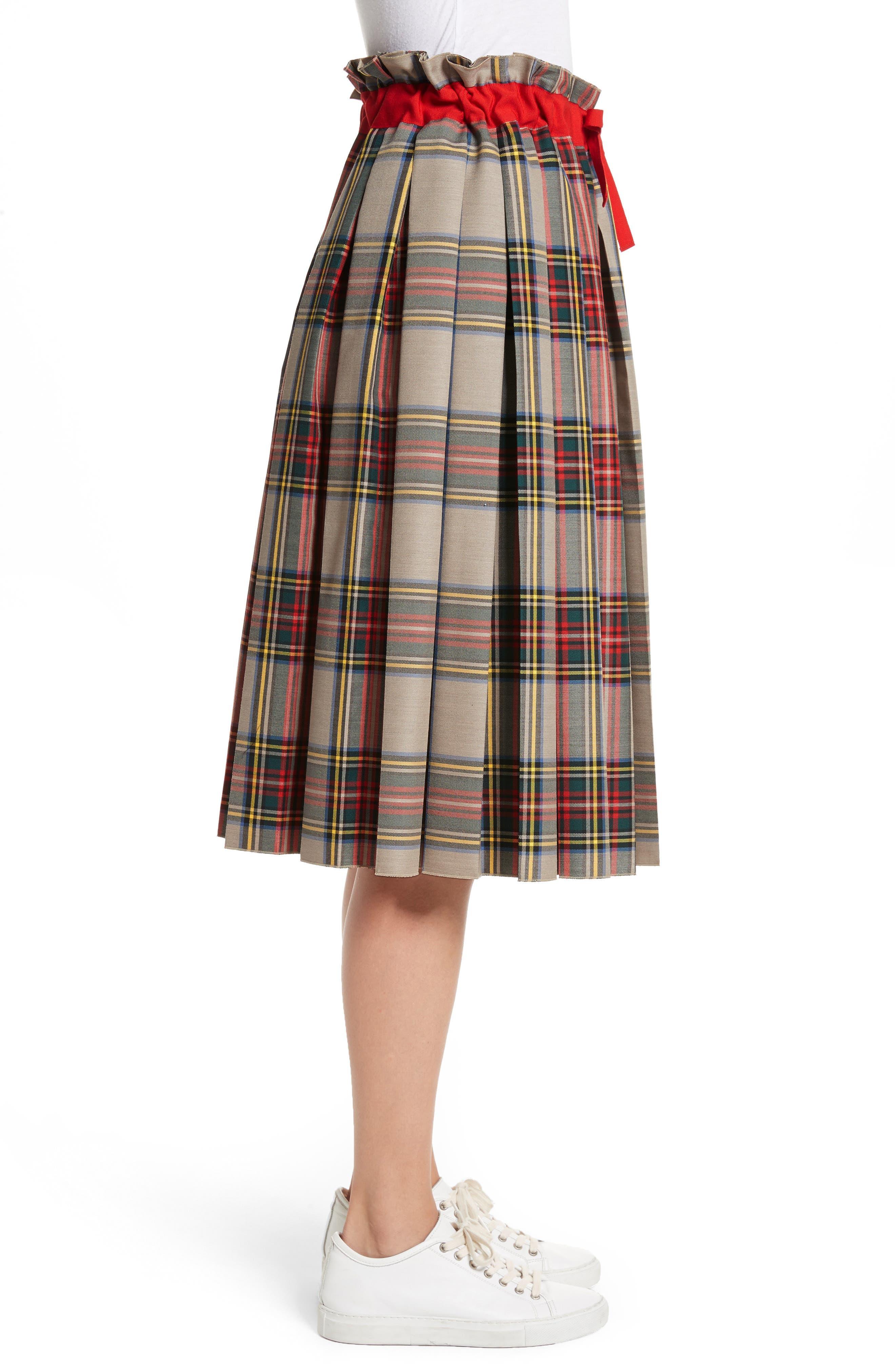 Pleated Technical Gabardine Skirt,                             Alternate thumbnail 3, color,                             250