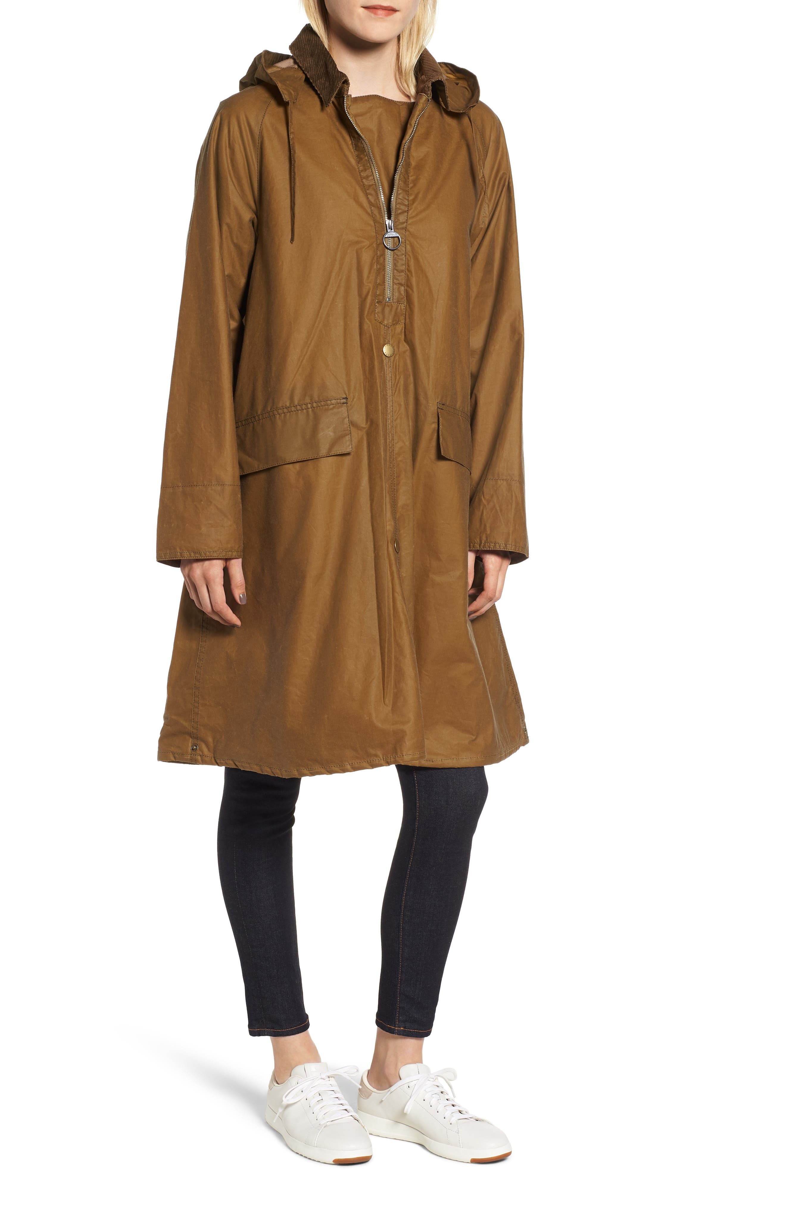 Margaret Howell Water Resistant Waxed Cotton Poncho,                             Main thumbnail 1, color,                             SAND