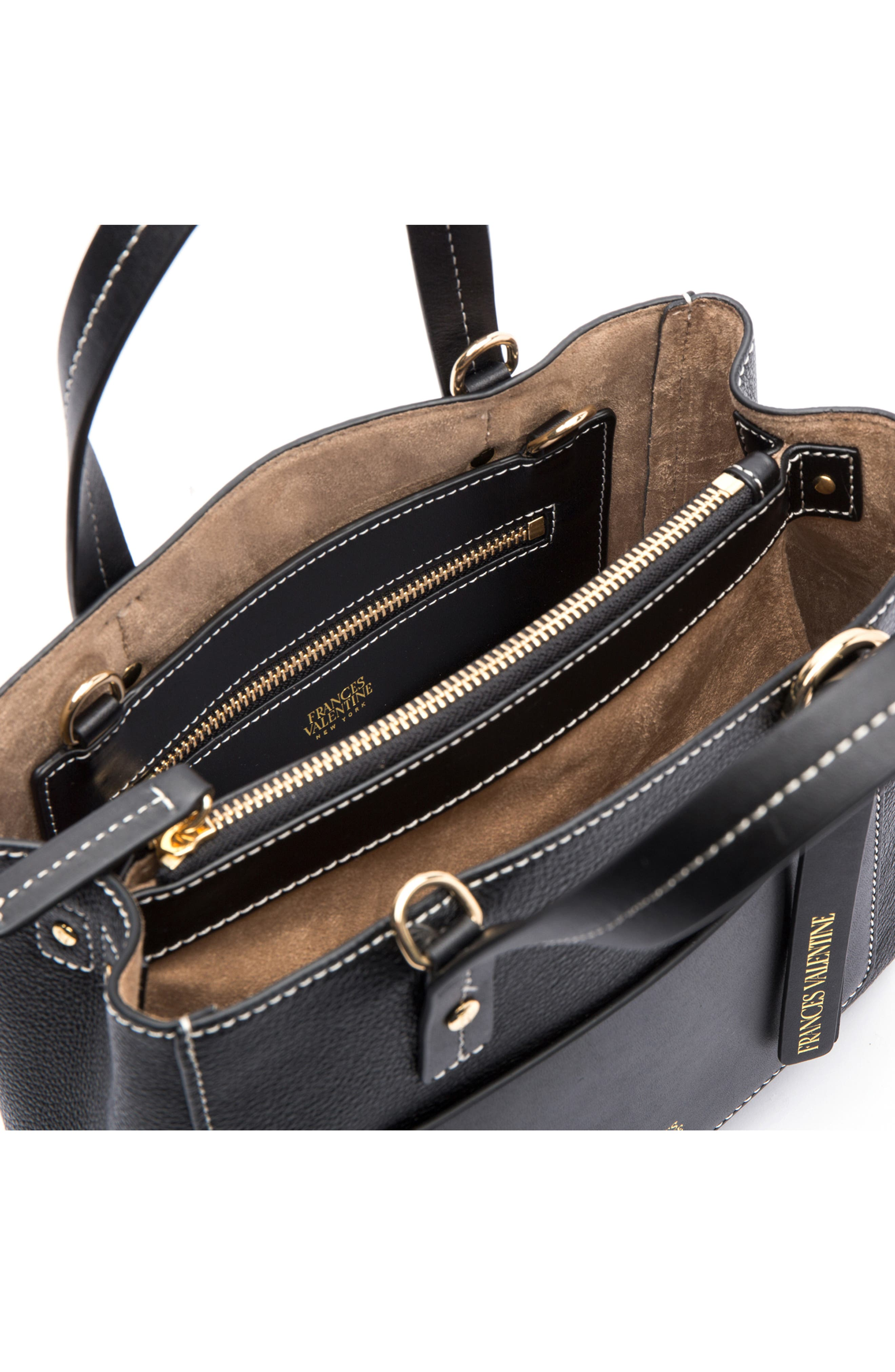 Small Chloe Leather Tote,                             Alternate thumbnail 3, color,                             BLACK