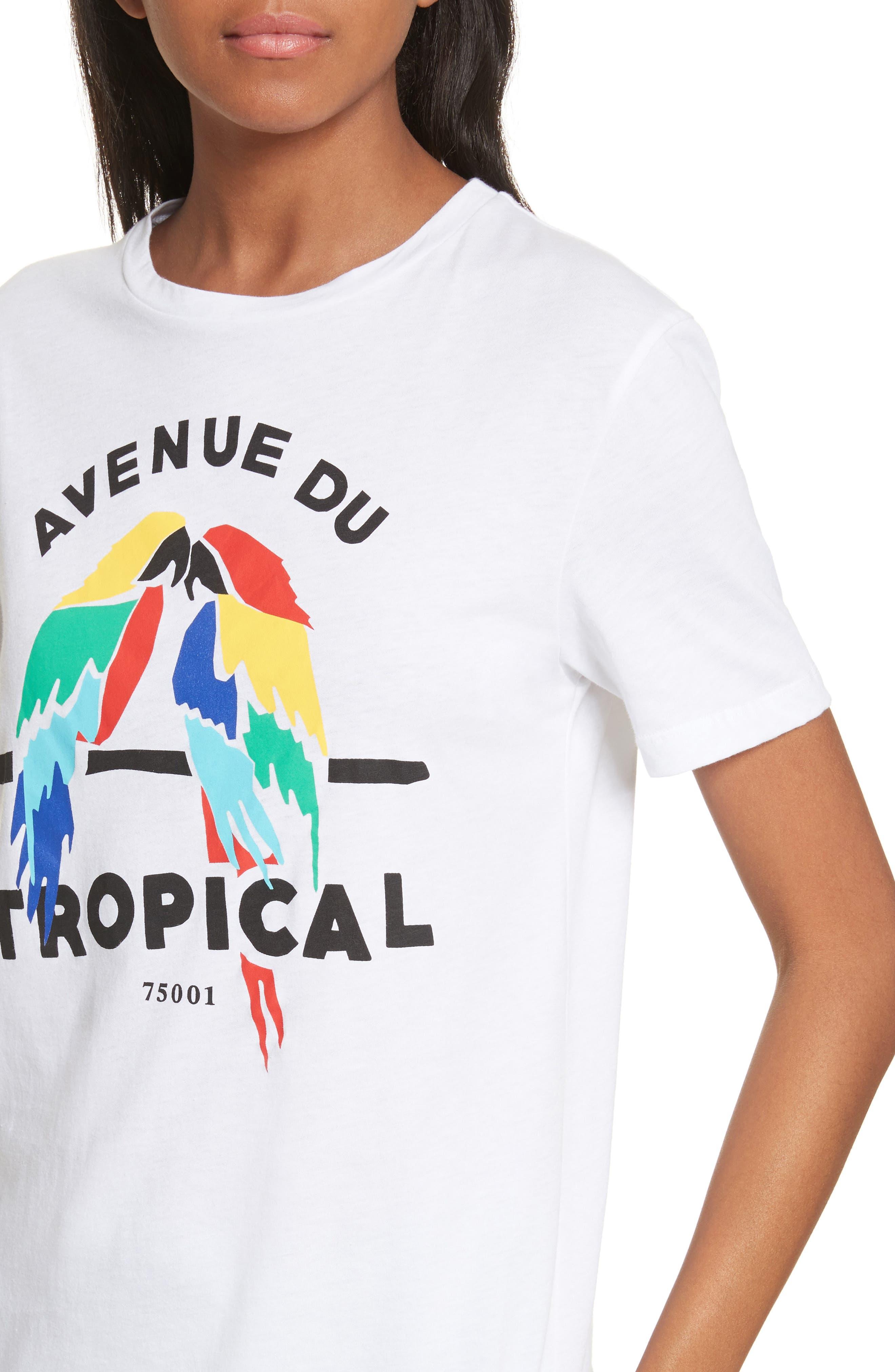 être cécile Tropical Print Tee,                             Alternate thumbnail 4, color,                             100