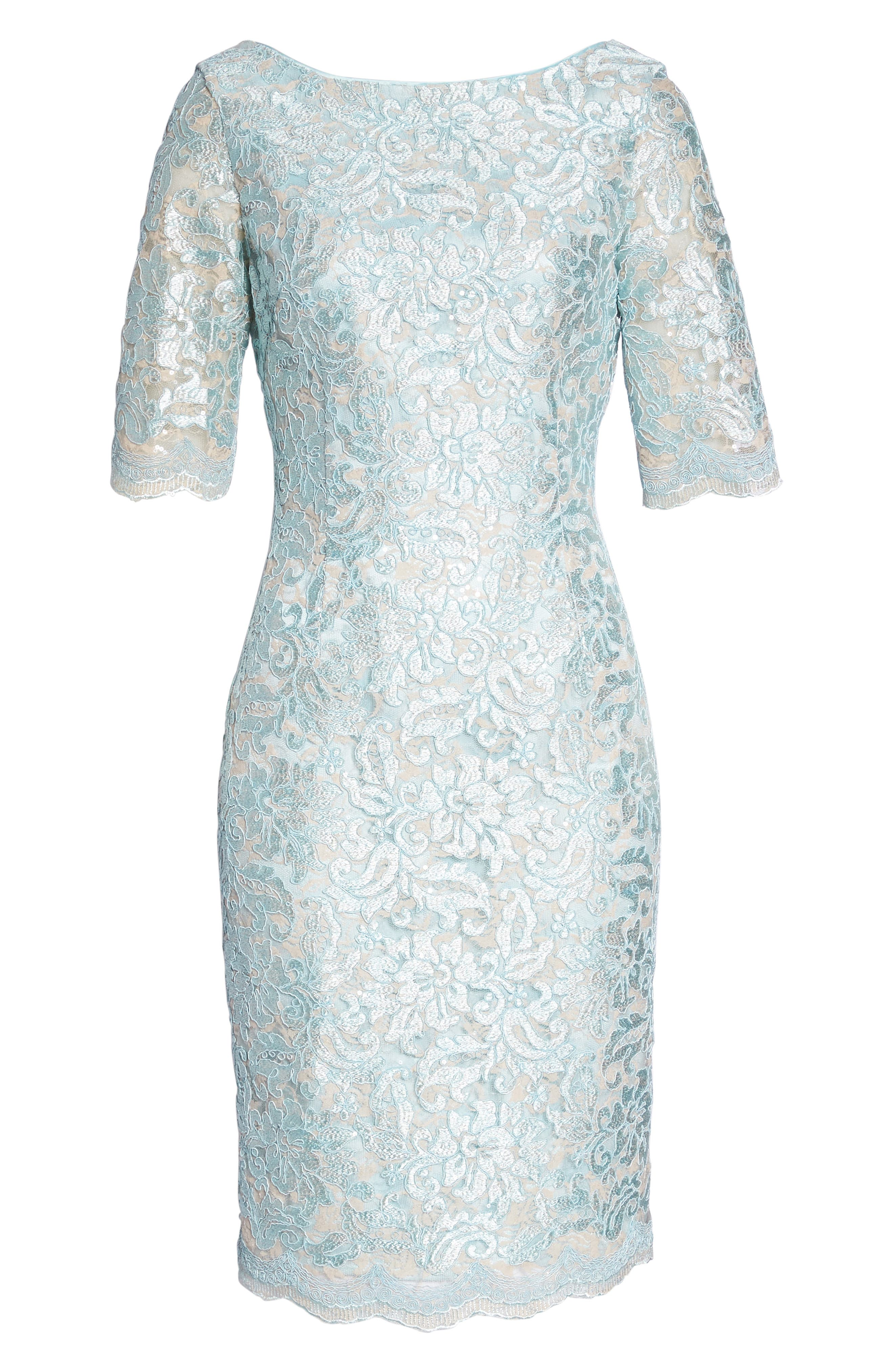 ELIZA J,                             Lace Sheath Dress,                             Alternate thumbnail 7, color,                             330